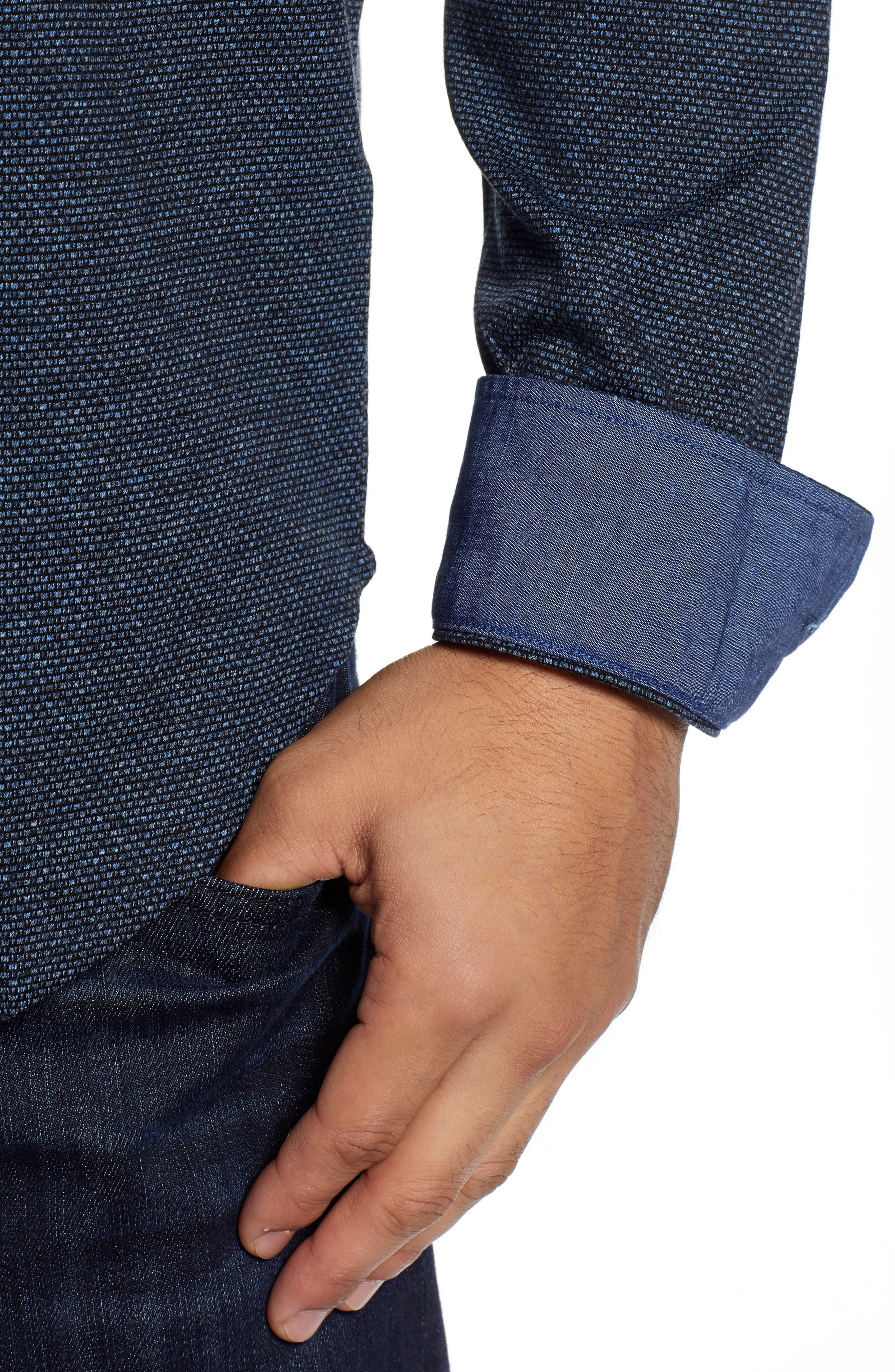 Shaped Fit Knit Sport Shirt,                             Alternate thumbnail 2, color,                             CHARCOAL