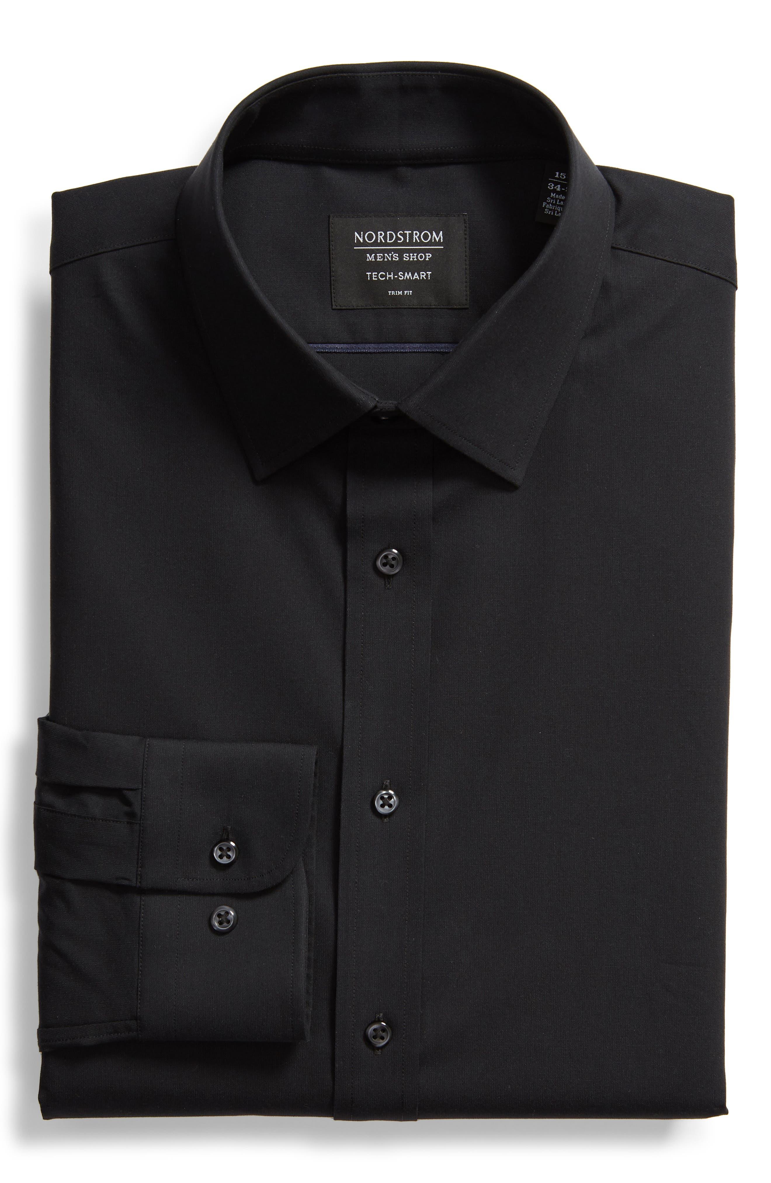 Tech-Smart Trim Fit Stretch Pinpoint Dress Shirt,                             Alternate thumbnail 5, color,                             BLACK ROCK