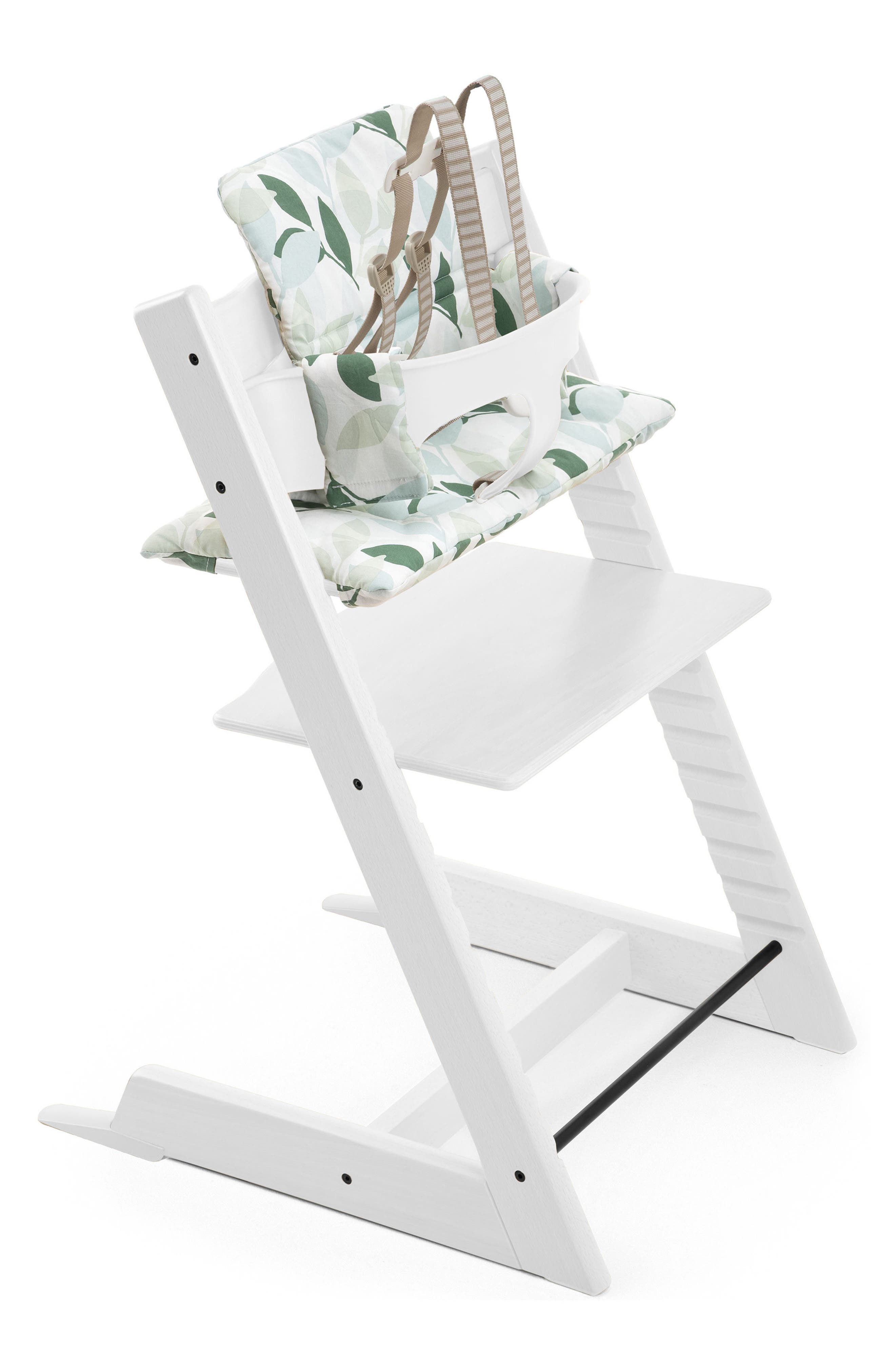 'Tripp Trapp<sup>®</sup>' Chair, Baby Set, Cushion & Tray Set,                             Main thumbnail 1, color,                             WHITE WITH FOREST GREEN