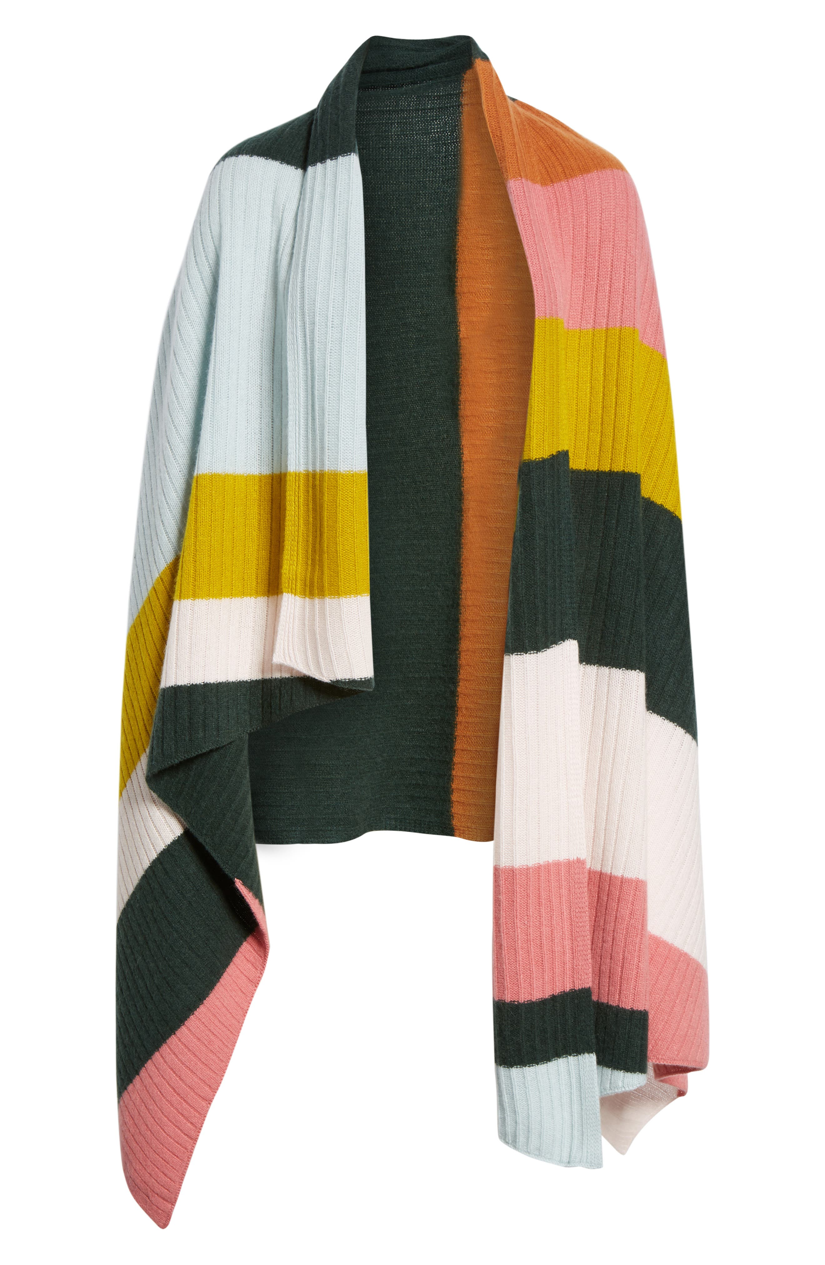 x Atlantic-Pacific Stripe Cashmere Wrap,                             Alternate thumbnail 7, color,                             660