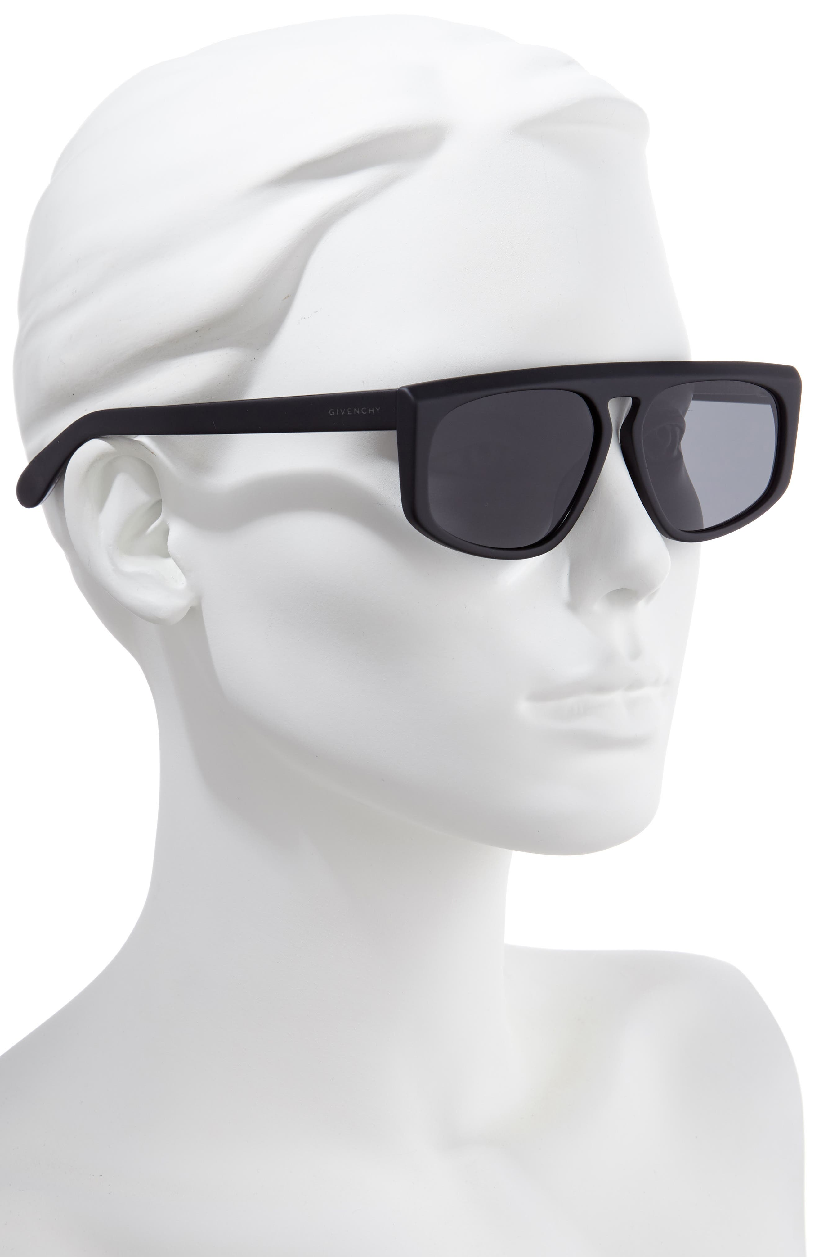 55mm Flat Top Sunglasses,                             Alternate thumbnail 2, color,                             MATTE BLACK