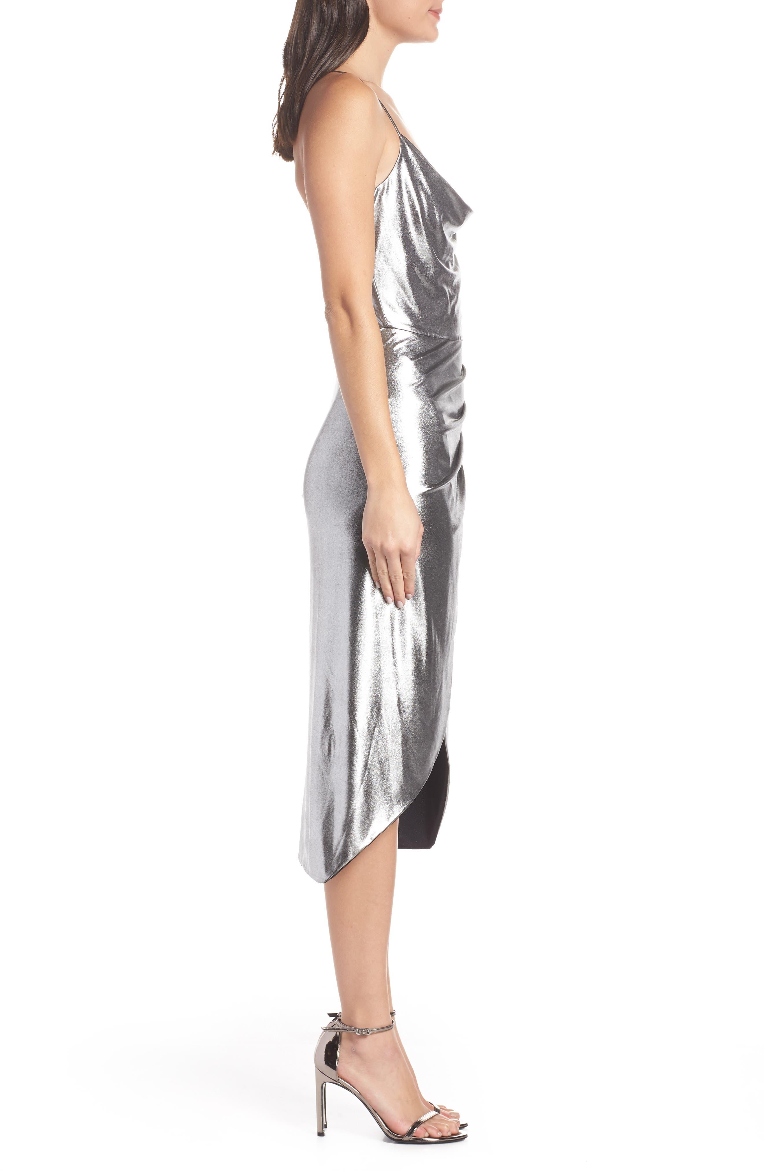 Runway Dress,                             Alternate thumbnail 3, color,                             SILVER