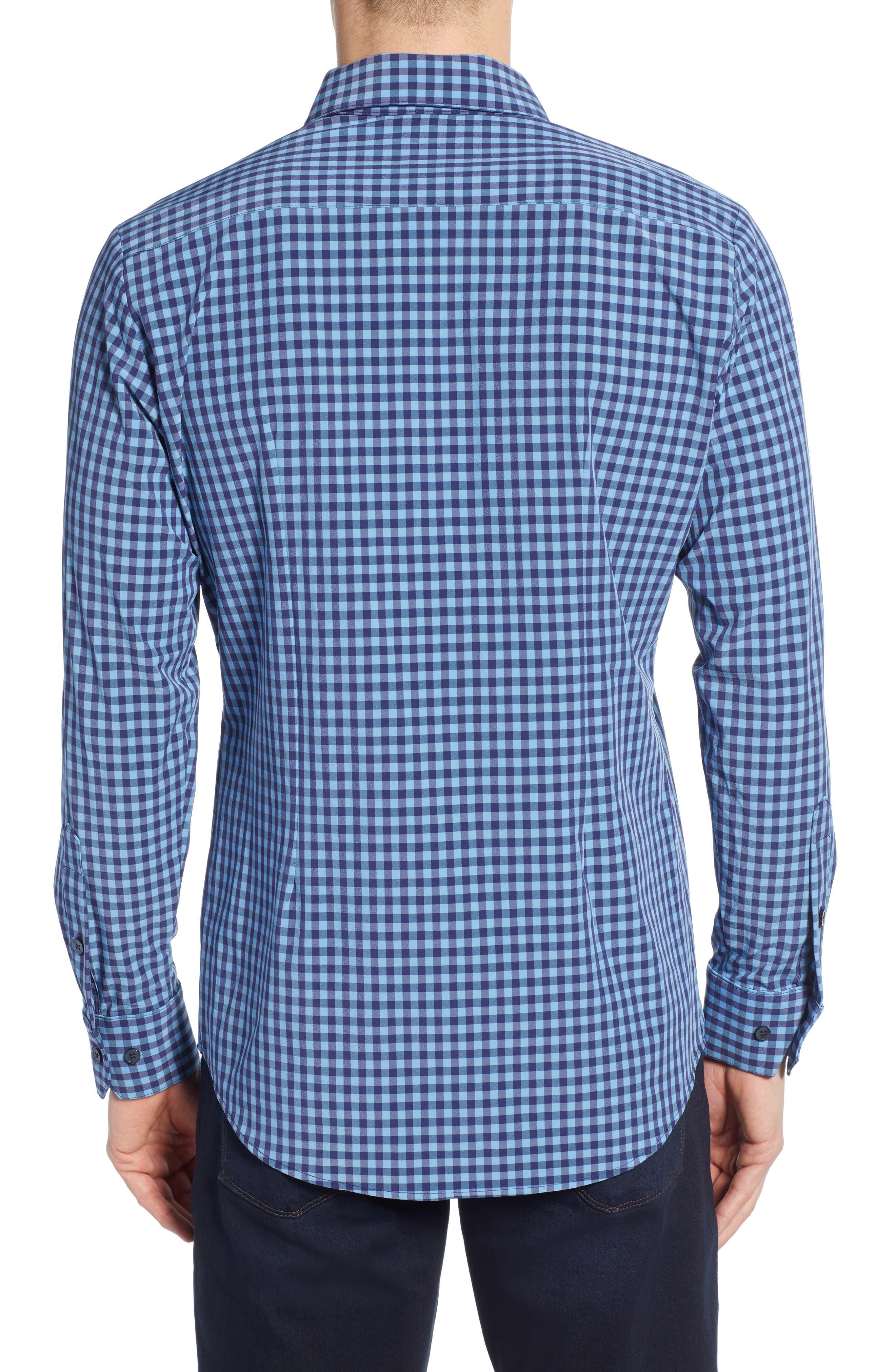 Whitten Regular Fit Check Performance Sport Shirt,                             Alternate thumbnail 3, color,                             BLUE