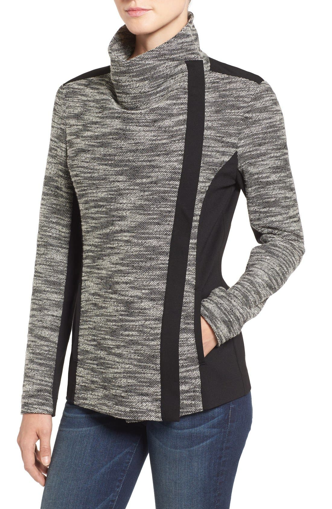 Asymmetrical Mixed Media Jacket,                             Alternate thumbnail 6, color,