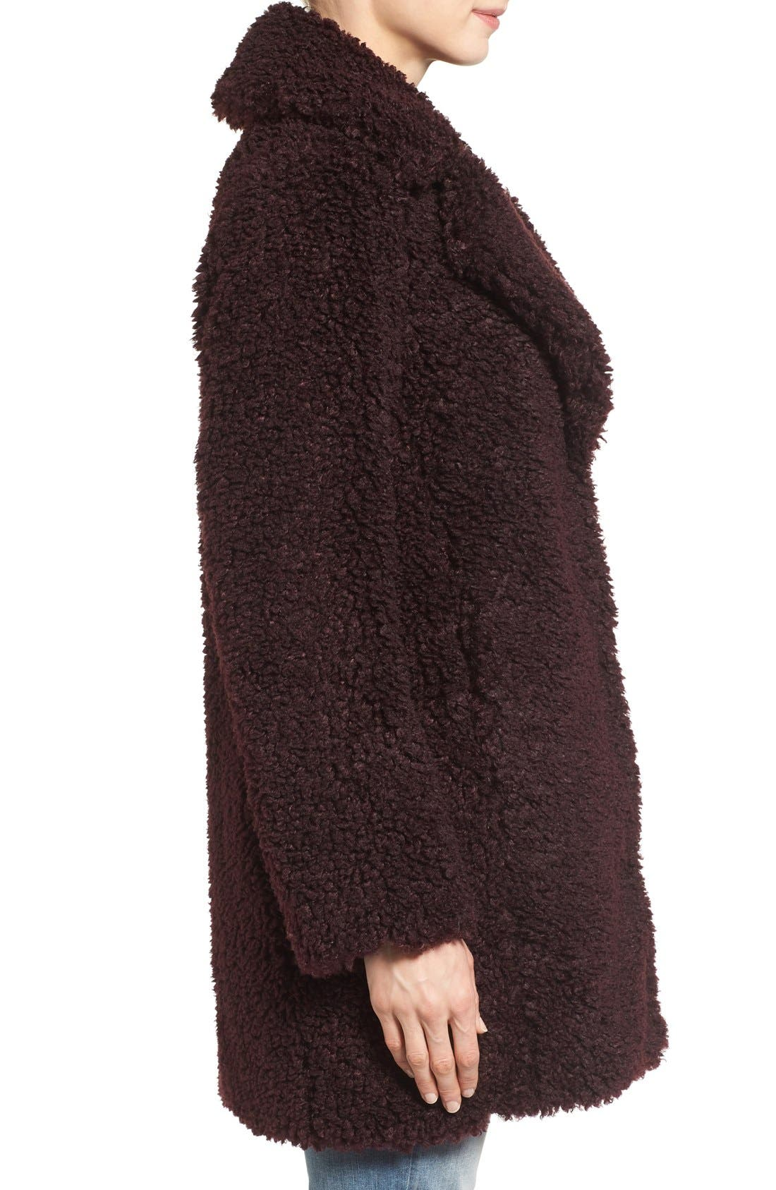 'Teddy Bear' Notch Collar Reversible Faux Fur Coat,                             Alternate thumbnail 13, color,