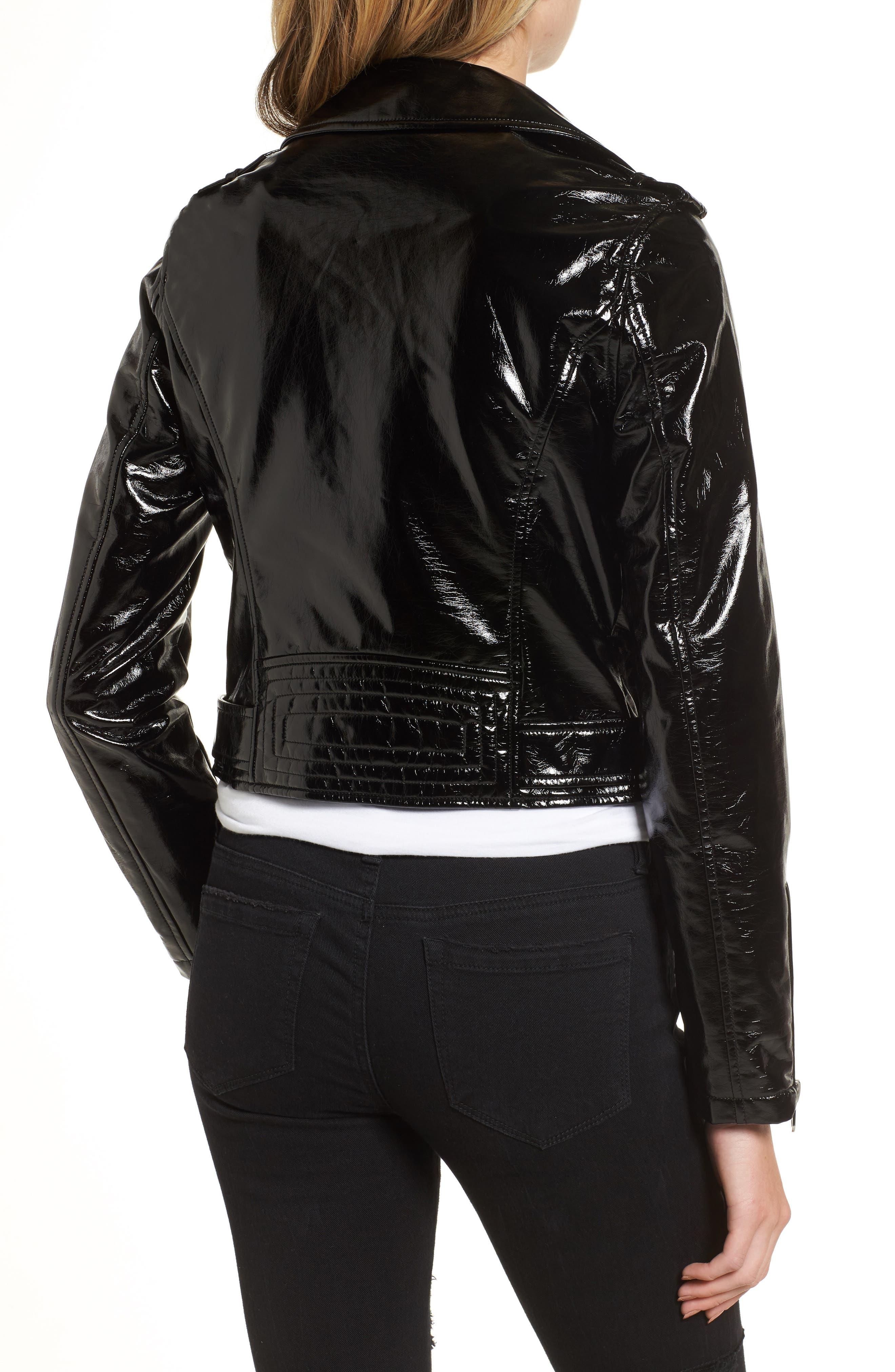 VIGOSS,                             Faux Patent Leather Biker Jacket,                             Alternate thumbnail 2, color,                             001
