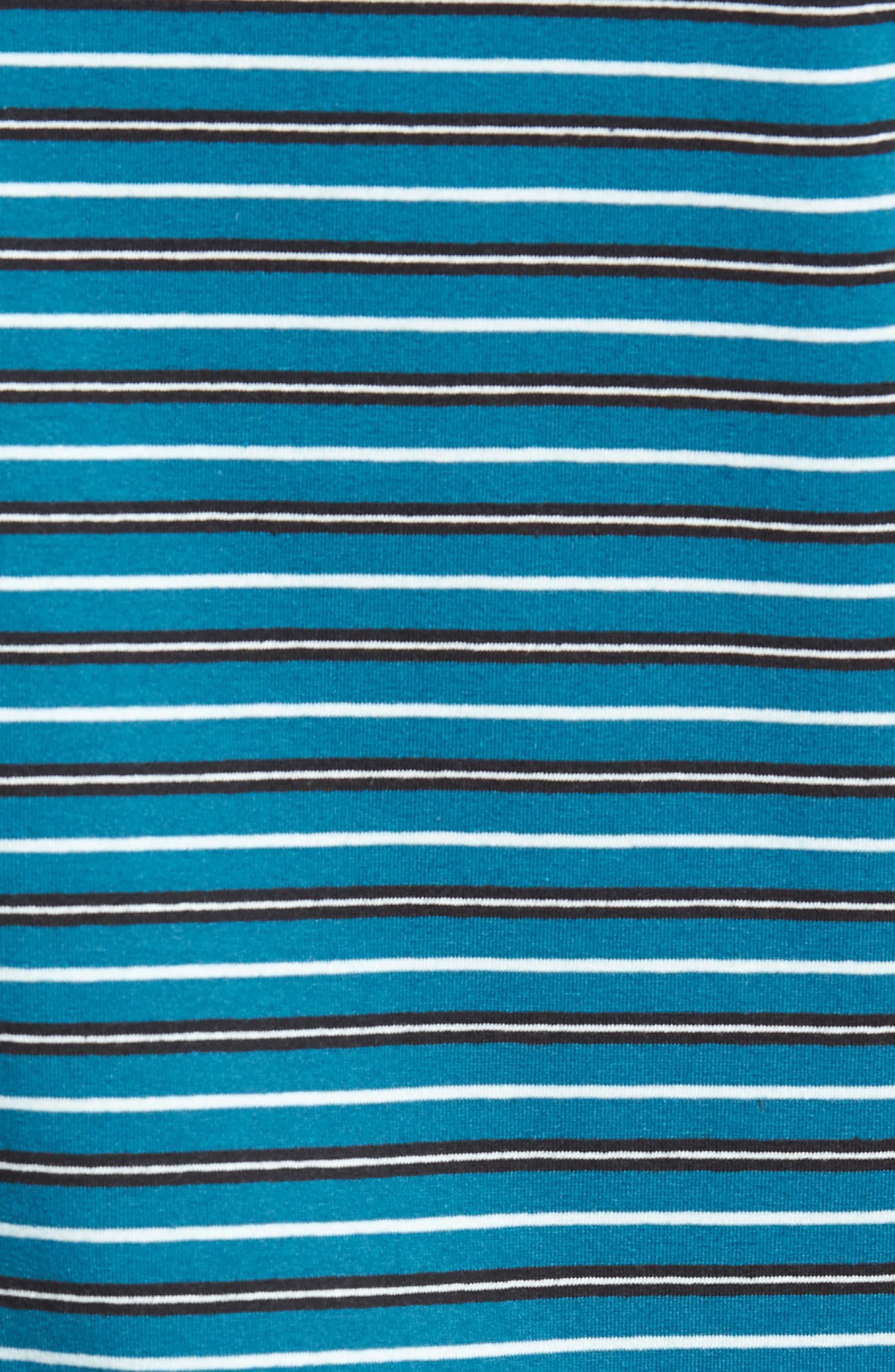 Striped T-Shirt,                             Alternate thumbnail 5, color,                             TEAL GREEN-WHITE STRIPE
