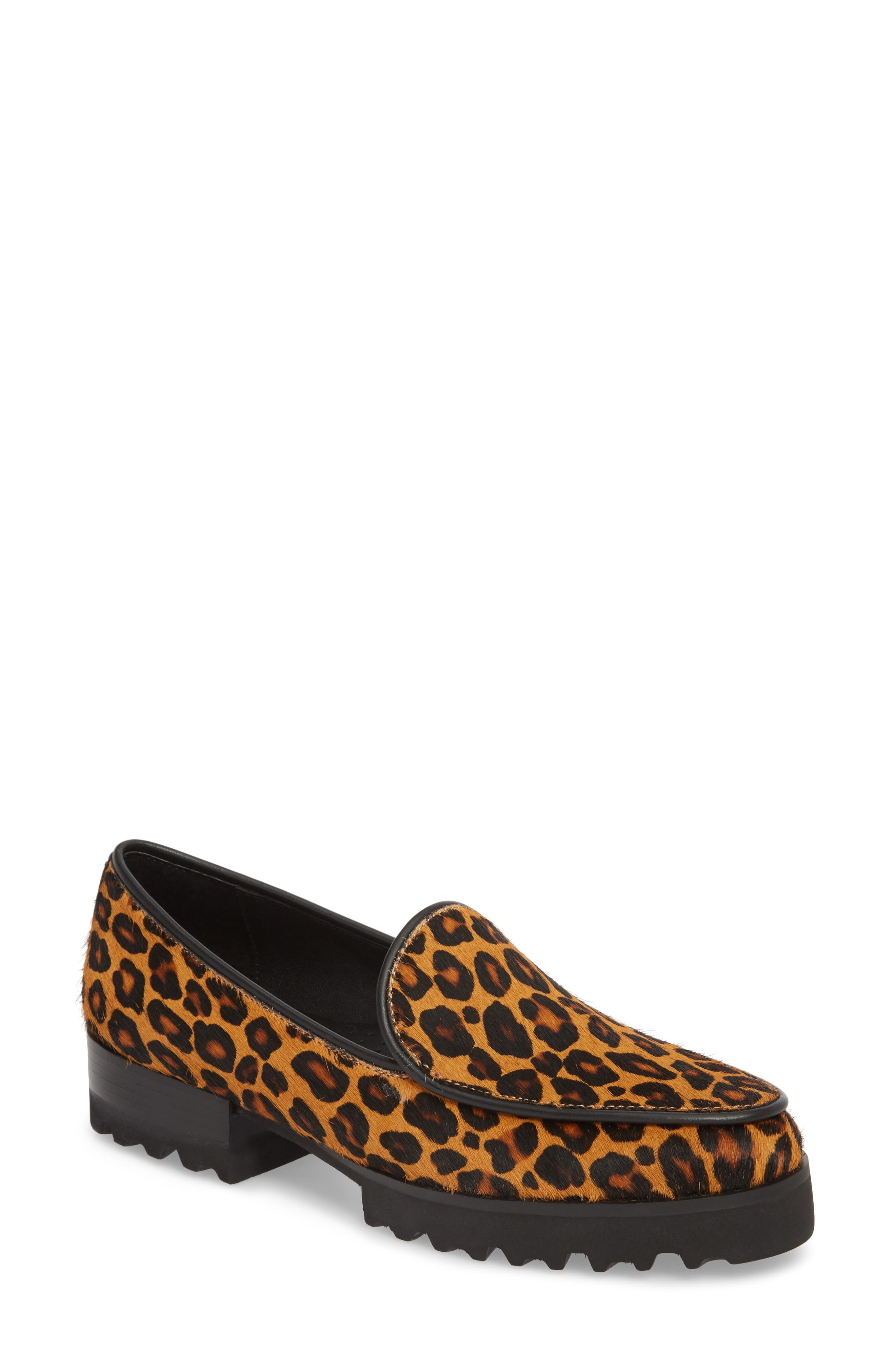 Enza Lug Sole Loafer,                         Main,                         color, LEOPARD PRINT HAIRCALF