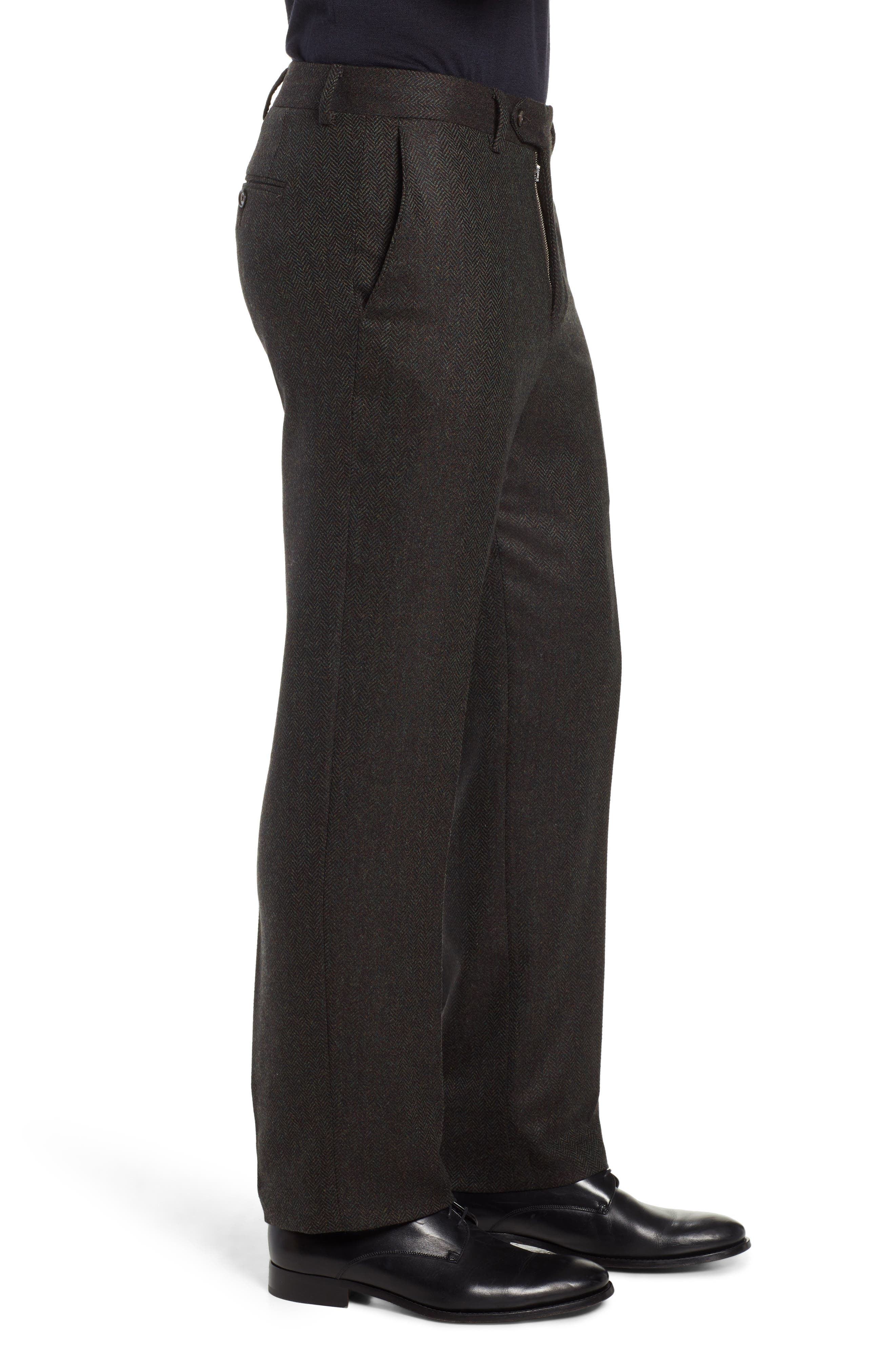 Flat Front Herringbone Wool & Cashmere Trousers,                             Alternate thumbnail 3, color,                             DARK OLIVE