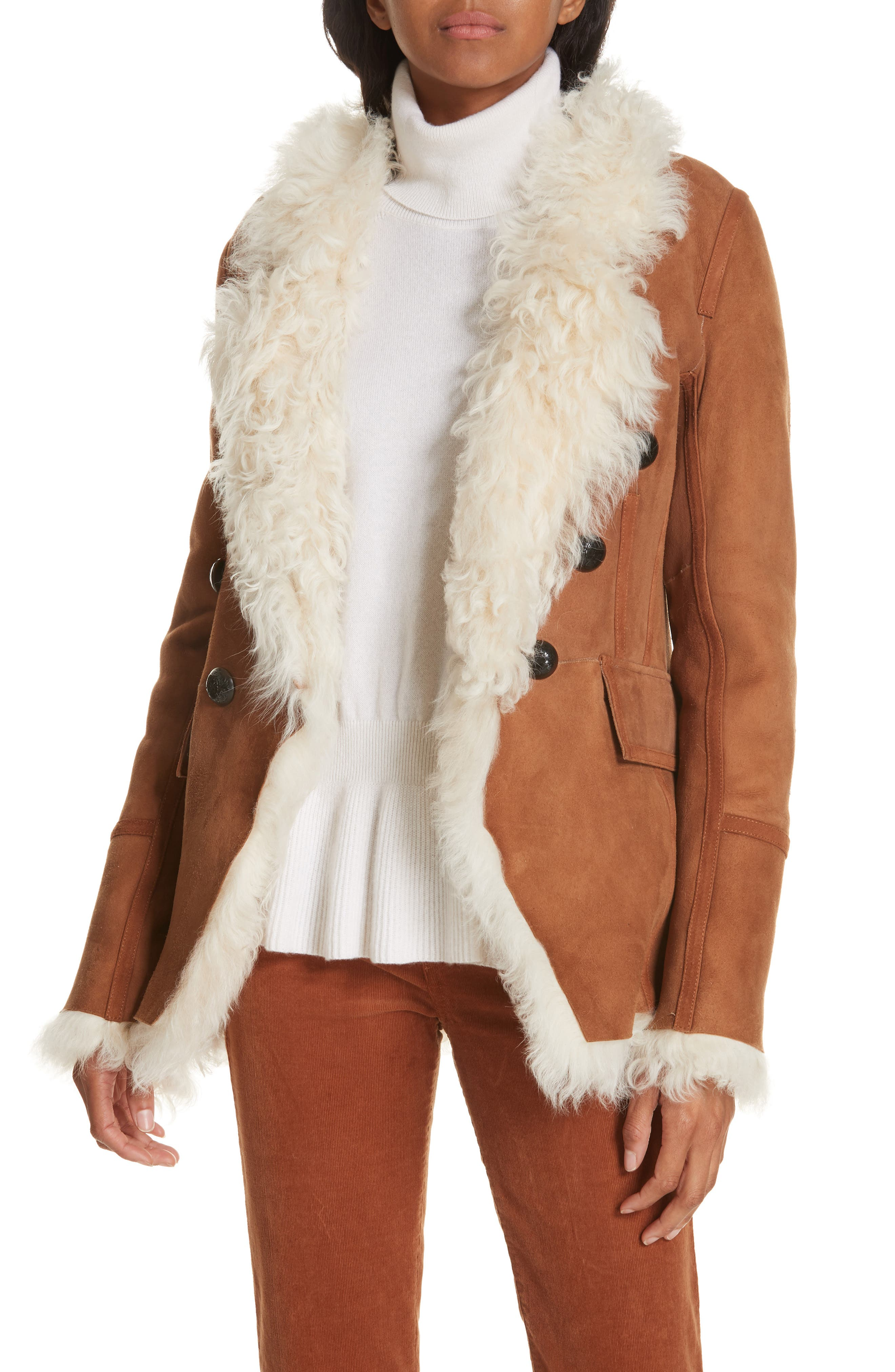 Huntley Shearling And Suede Double-Breasted Blazer in Brown