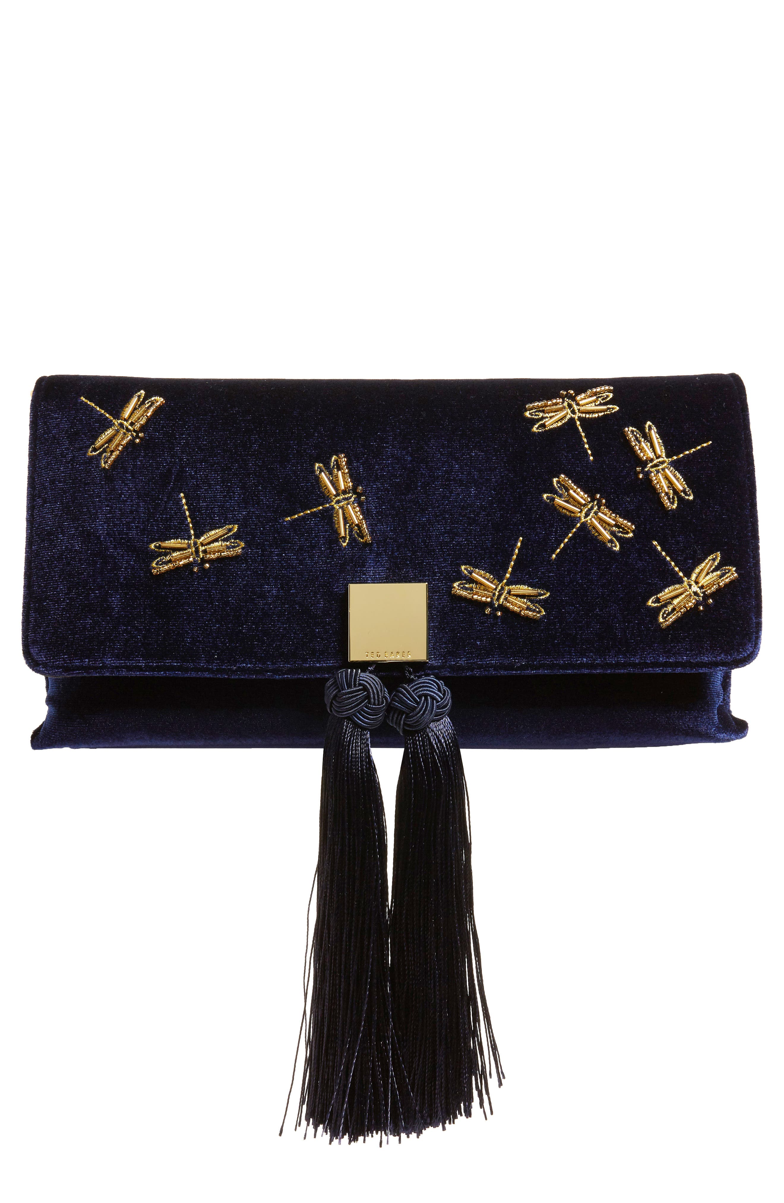 Kasia Beaded Dragonfly Velvet Clutch,                         Main,                         color, DARK BLUE