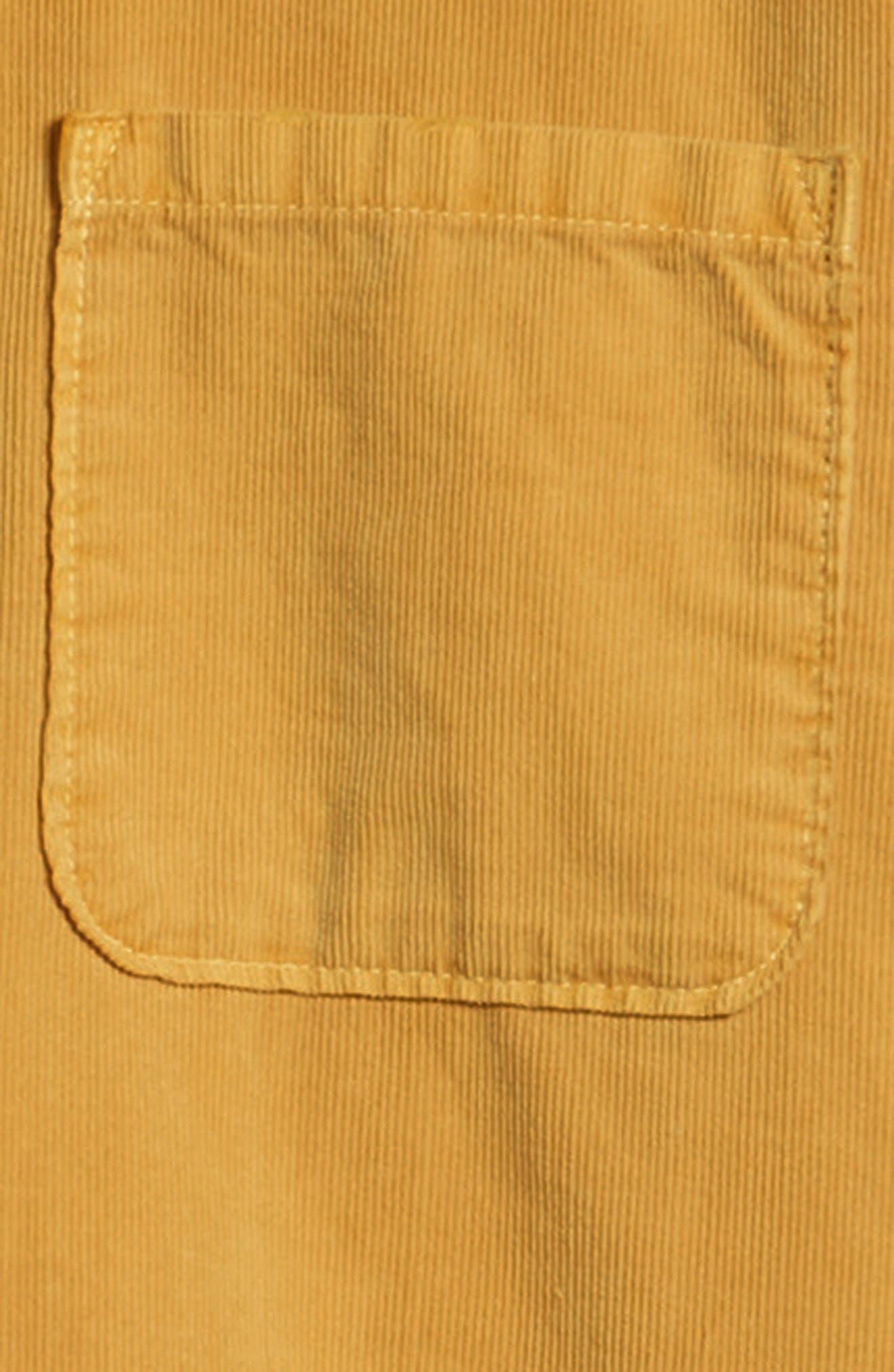 Slim Fit Corduroy Shirt,                             Alternate thumbnail 6, color,                             FADED GOLDEN GLOW