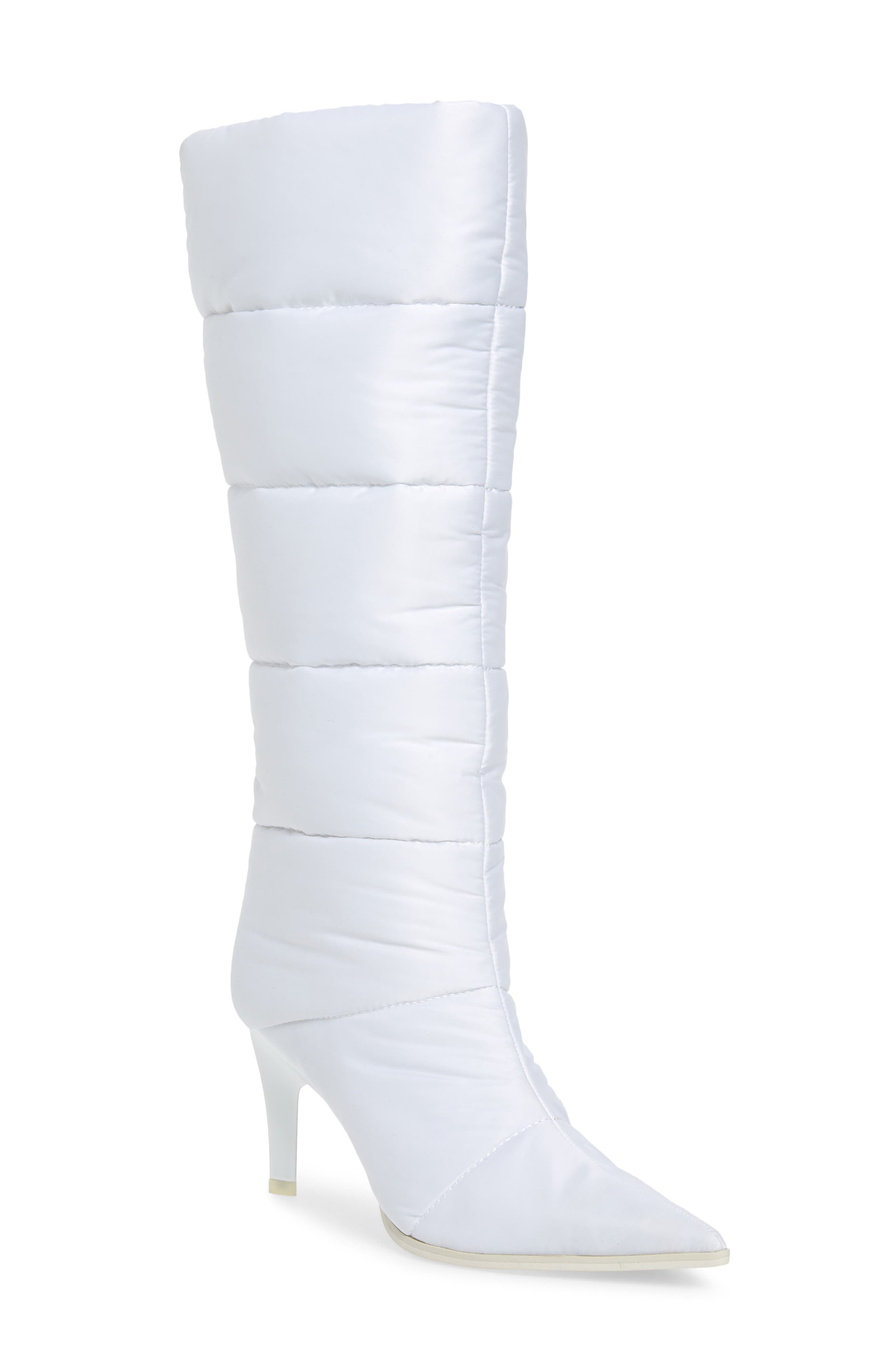 Apris Knee High Puffer Boot,                             Main thumbnail 1, color,                             WHITE FABRIC