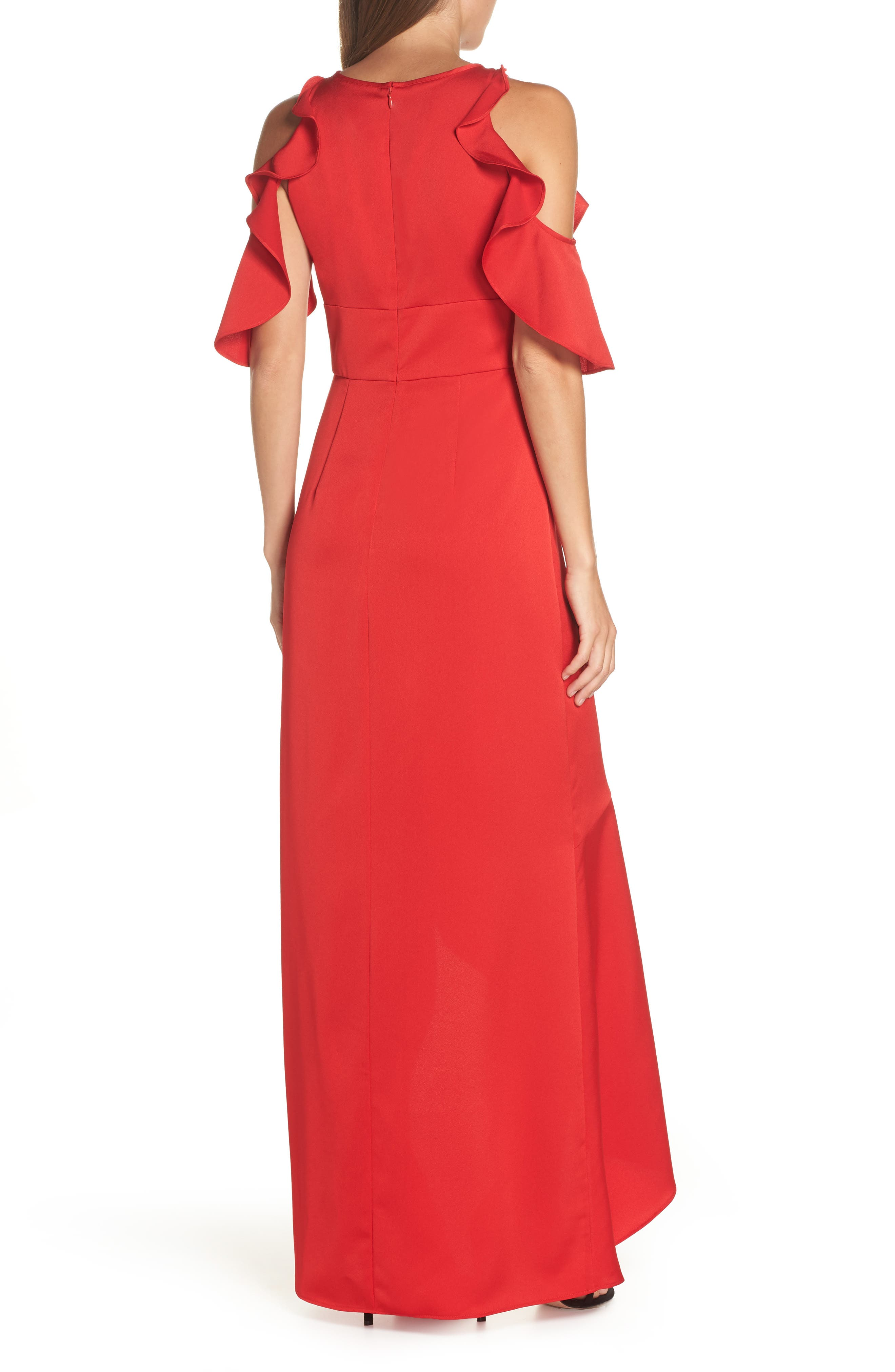 Ruffle Cold Shoulder Gown,                             Alternate thumbnail 2, color,                             RED