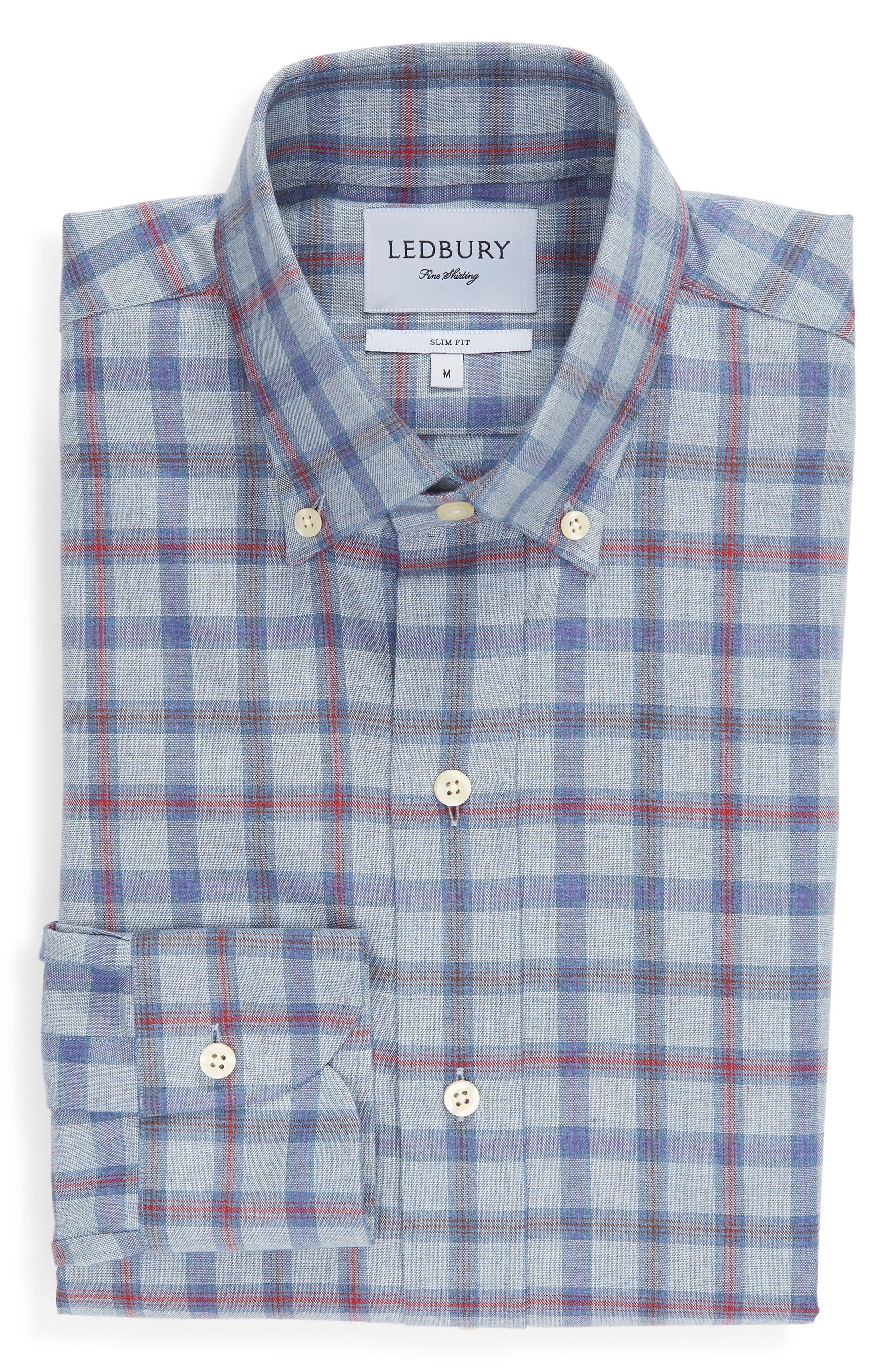 Hilbank Trim Fit Check Dress Shirt,                             Alternate thumbnail 5, color,                             CADET BLUE