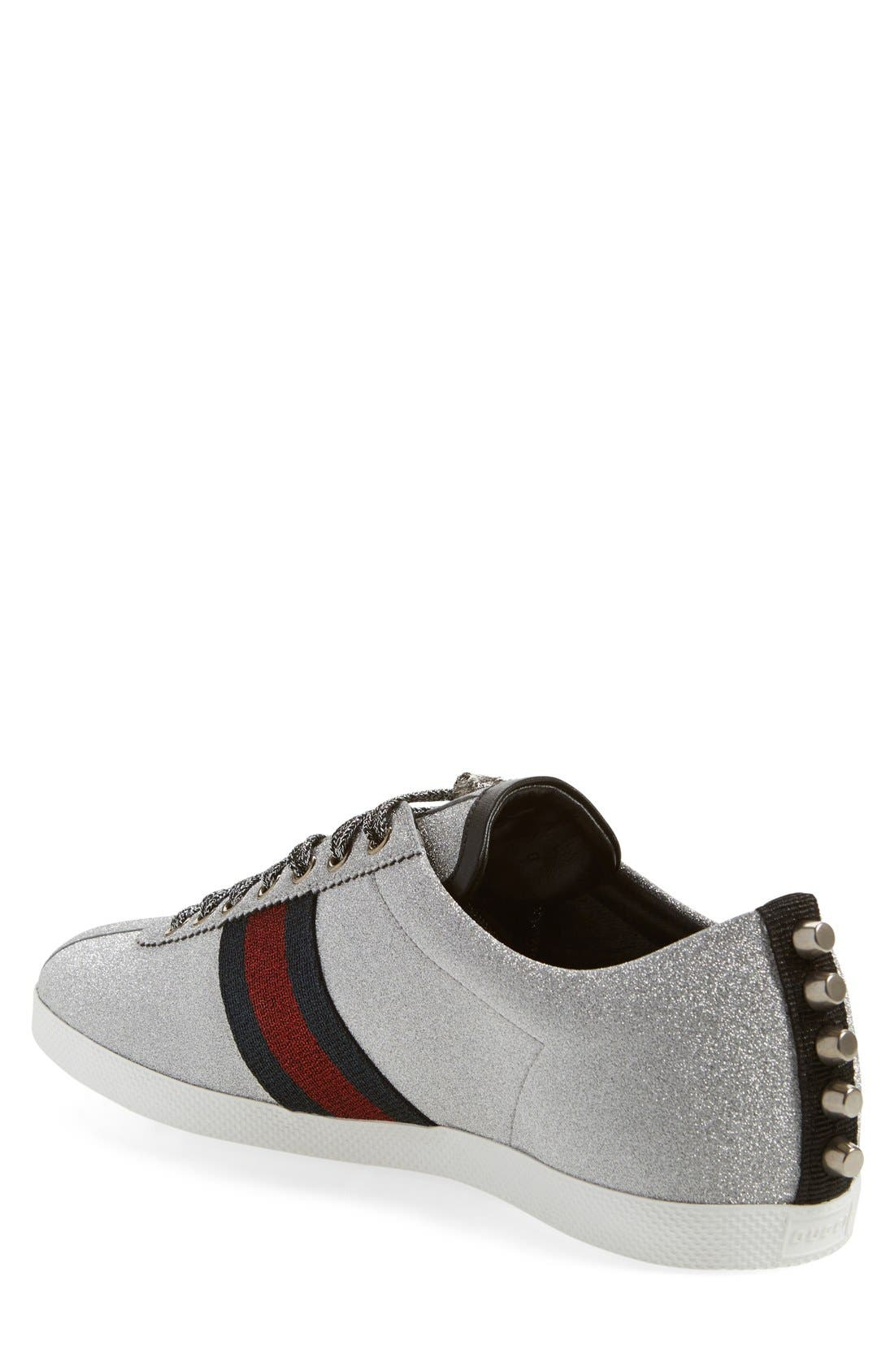 Bambi Lace-Up Sneaker,                             Alternate thumbnail 2, color,                             ARGENTO FABRIC