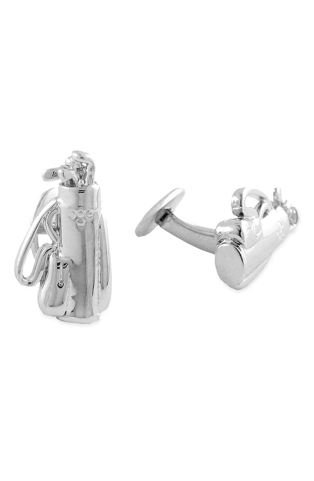 'Golf' Sterling Silver Cuff Links,                             Main thumbnail 4, color,