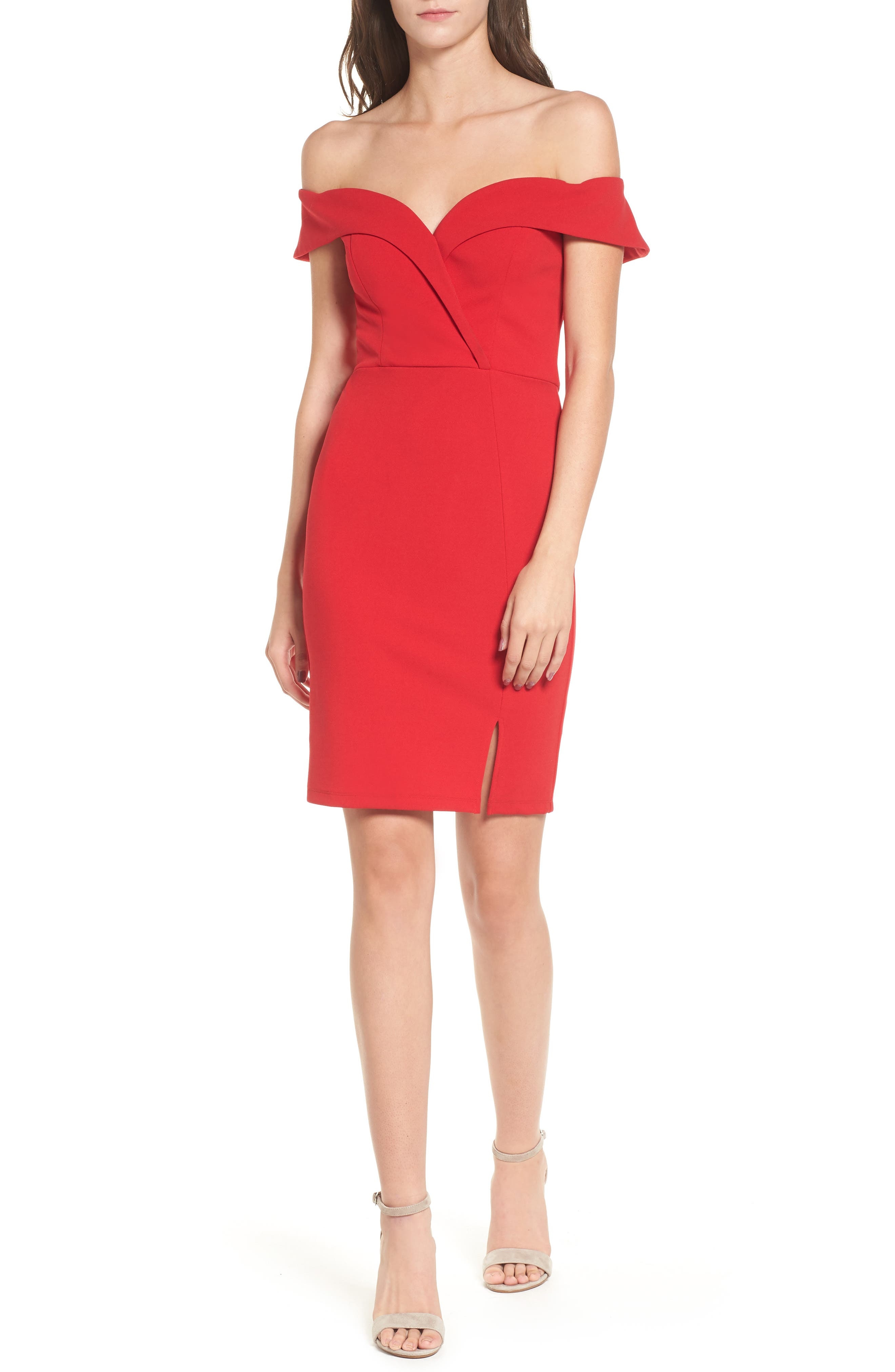 Speechless Off The Shoulder Body-Con Dress, Red