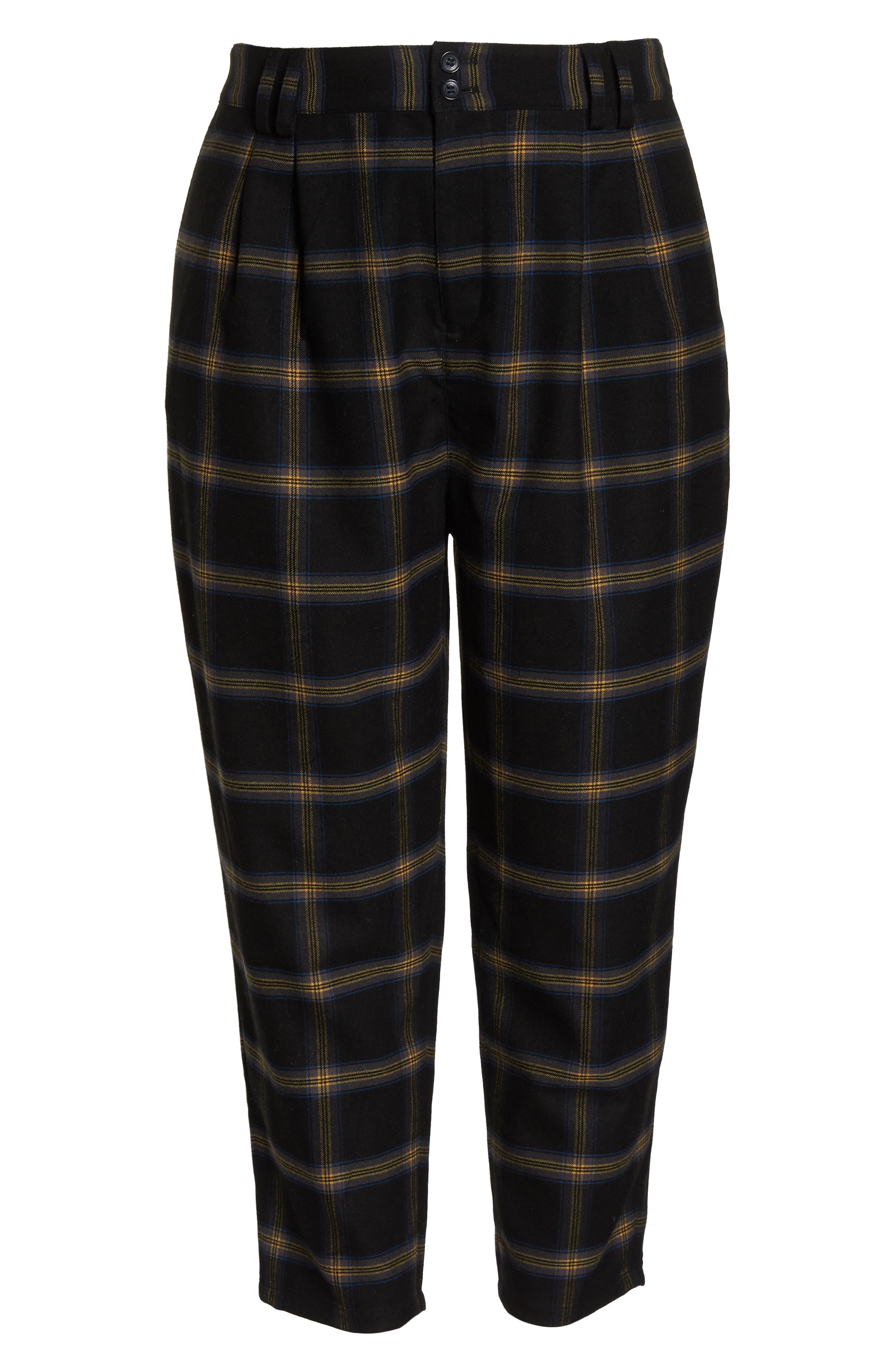 Plaid Menswear Crop Pants,                             Alternate thumbnail 7, color,                             BLACK SHANNON PLAID