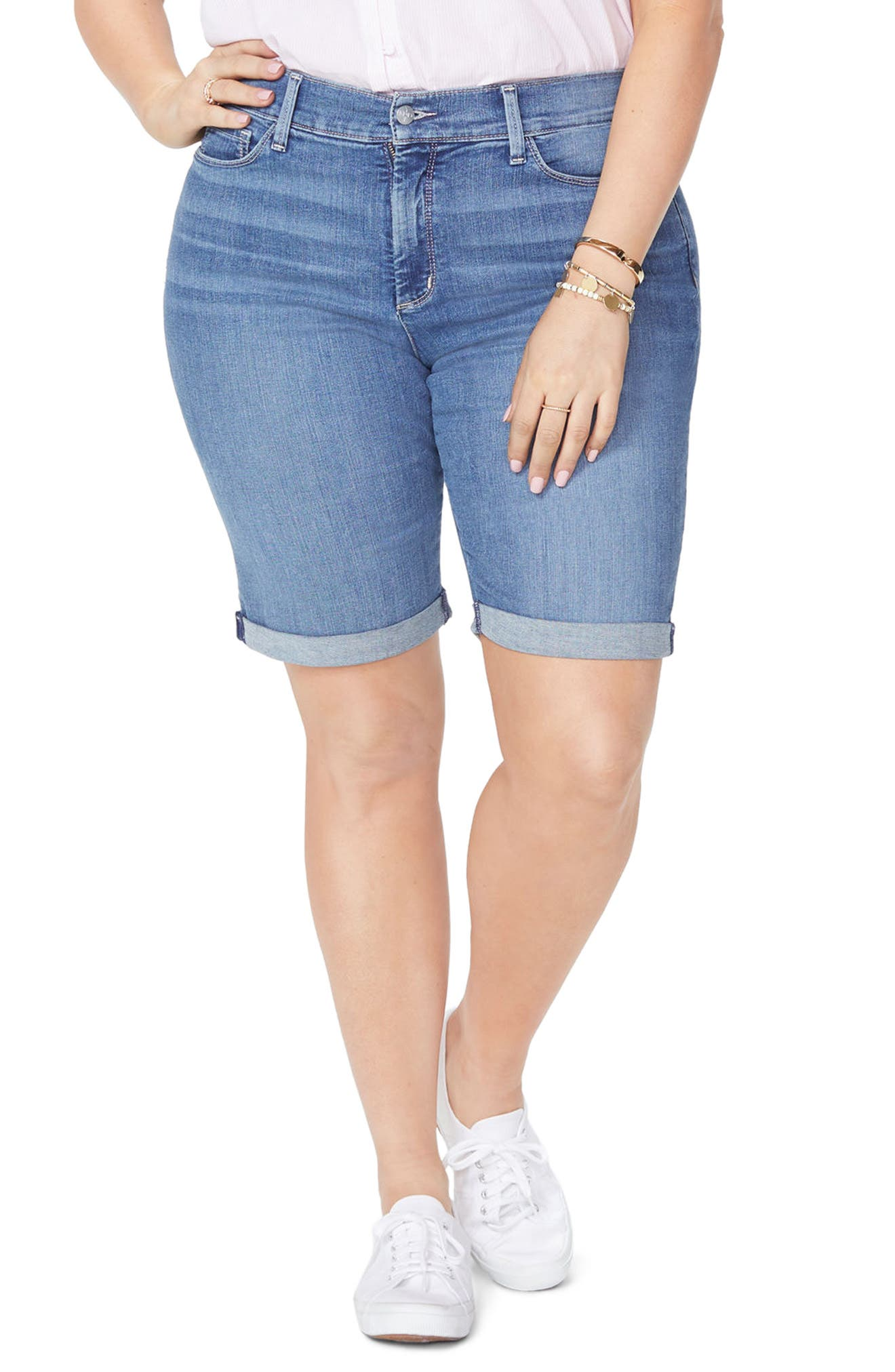 Briella Roll Cuff Stretch Denim Shorts,                         Main,                         color,