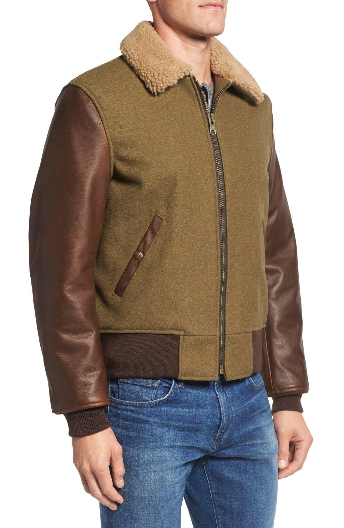 Mixed Media B-15 Flight Jacket with Genuine Shearling Collar,                             Alternate thumbnail 4, color,