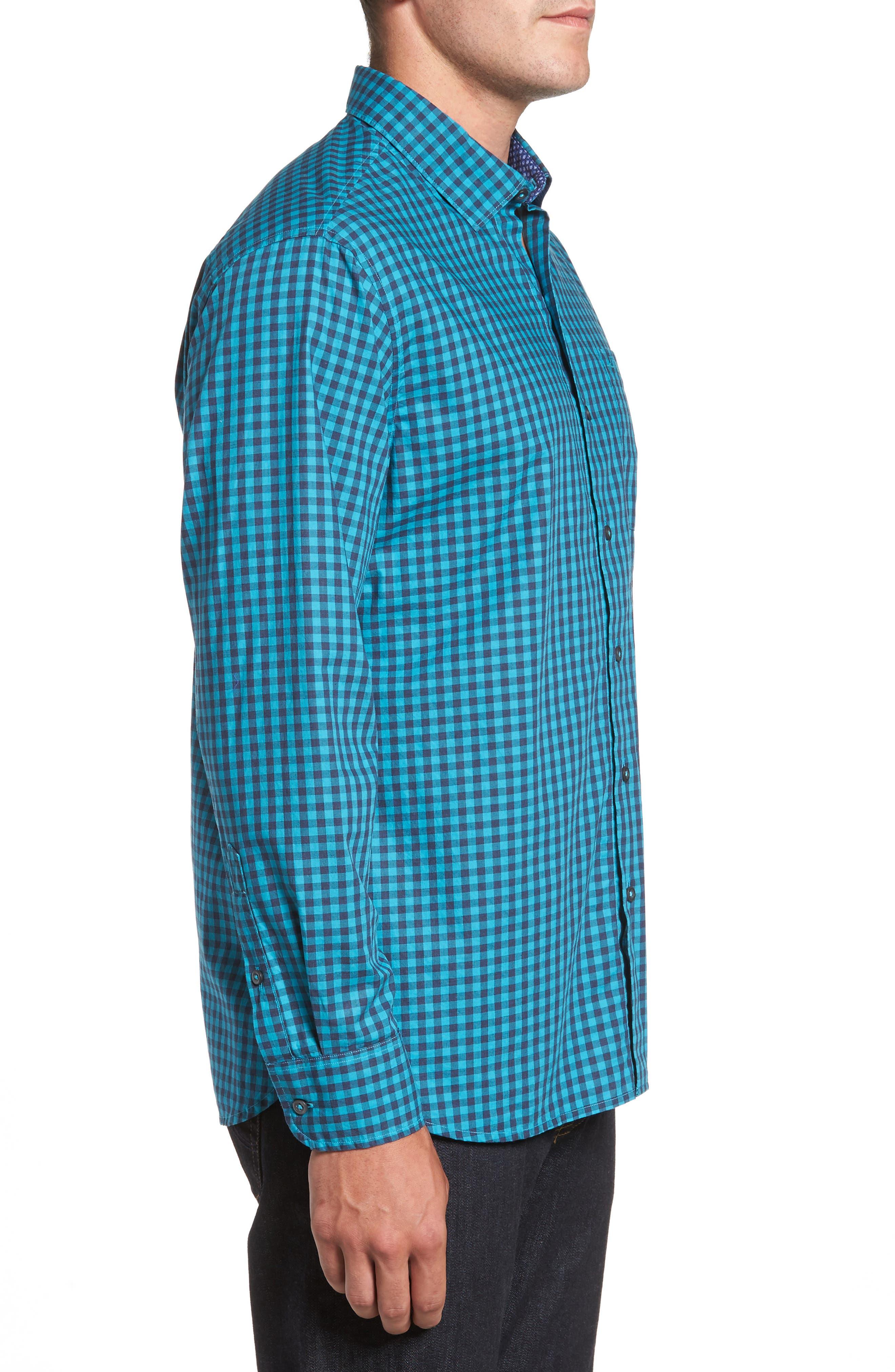 Mazagan Check Sport Shirt,                             Alternate thumbnail 3, color,                             401