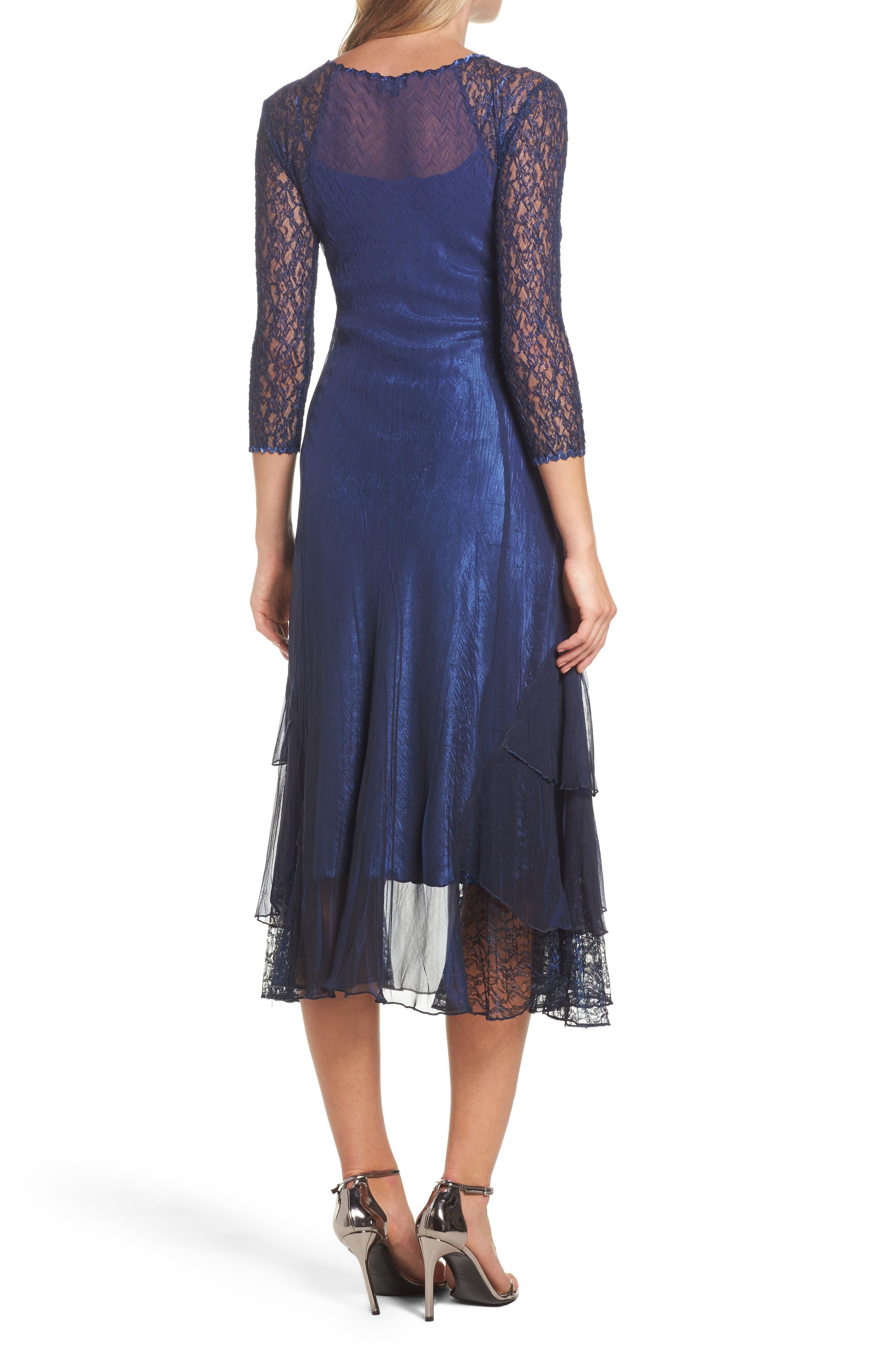 Ombré Lace & Chiffon Midi Dress,                             Alternate thumbnail 2, color,                             014