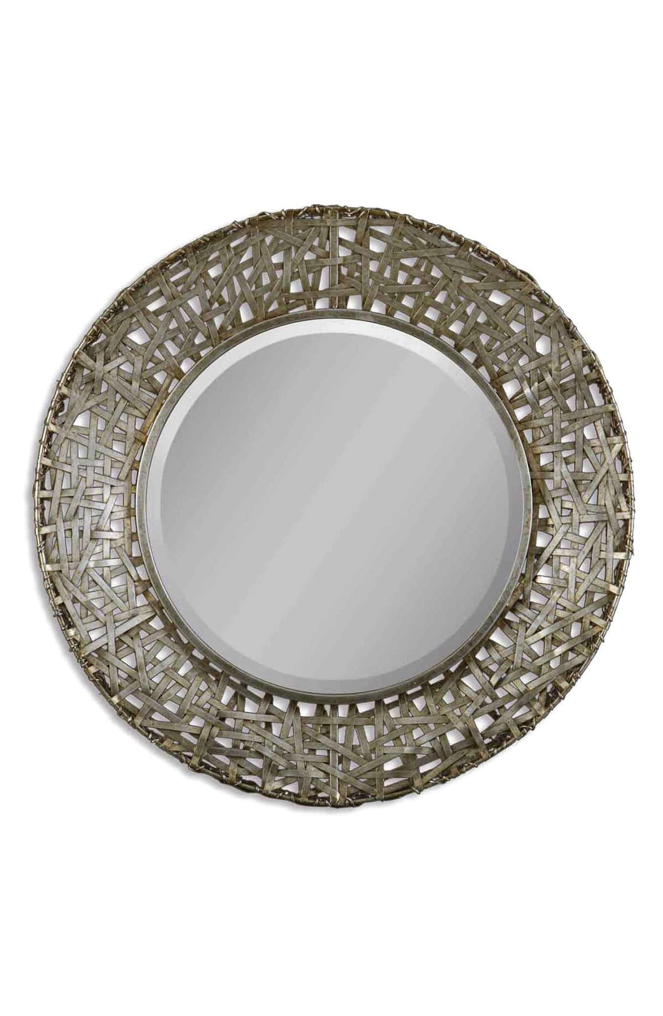 'Alita' Woven Metallic Frame Mirror,                             Alternate thumbnail 2, color,                             020