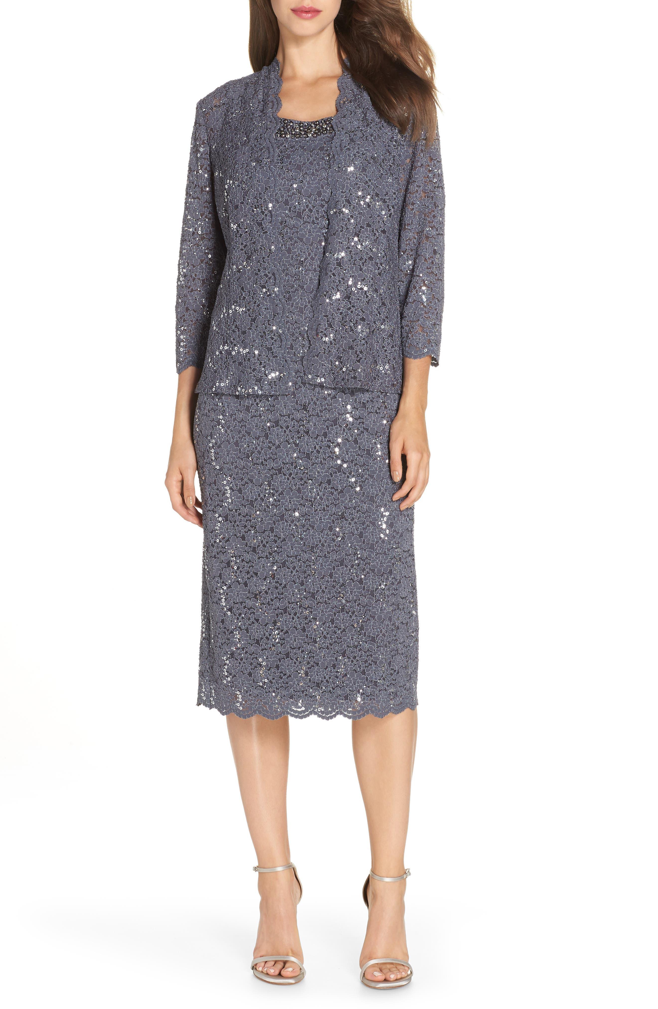 Sequin Lace Dress & Jacket,                             Main thumbnail 1, color,                             SMOKE