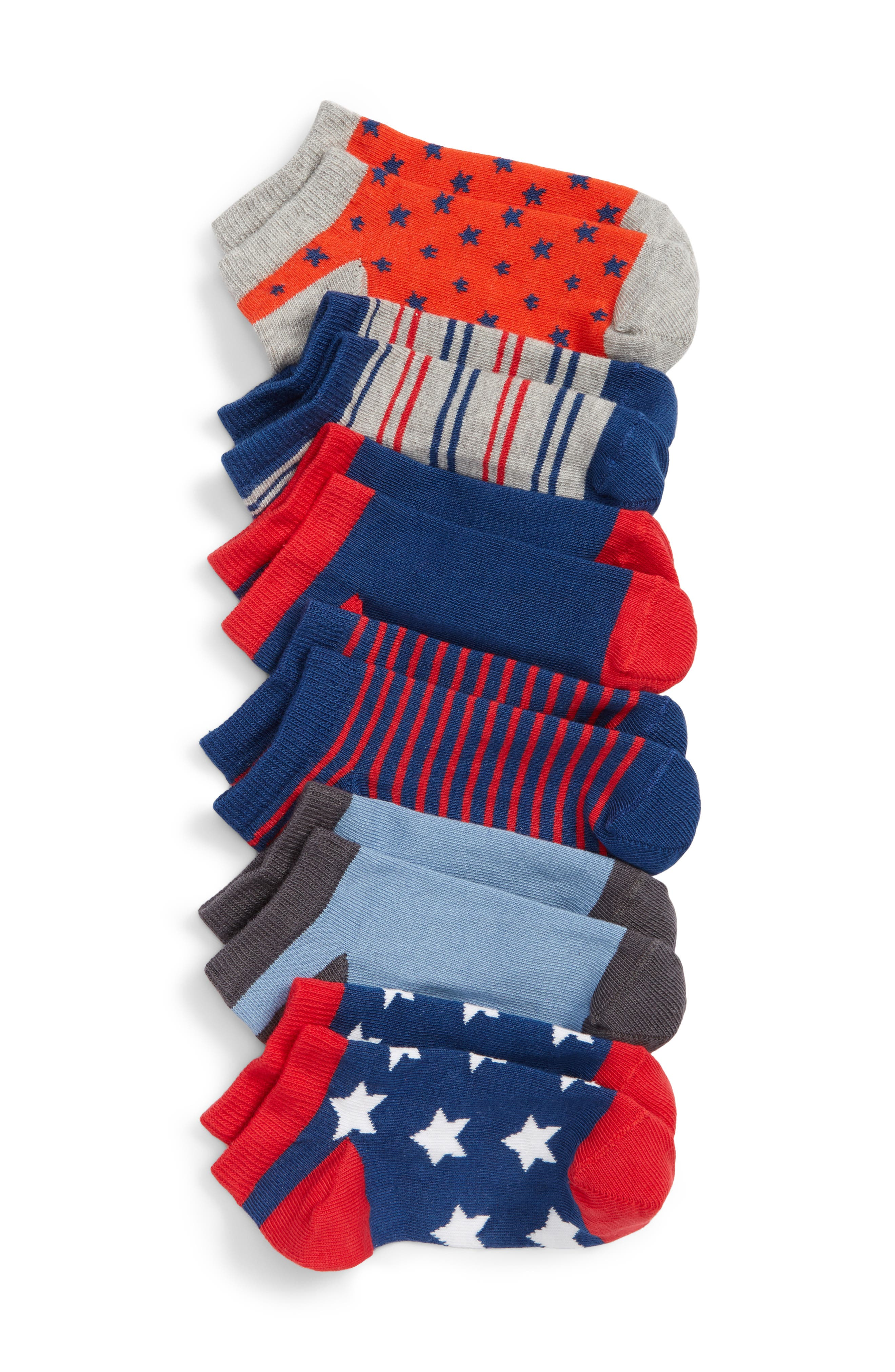 6-Pack Stars and Stripes Low Cut Socks,                         Main,                         color, NAVY DENIM MULTI