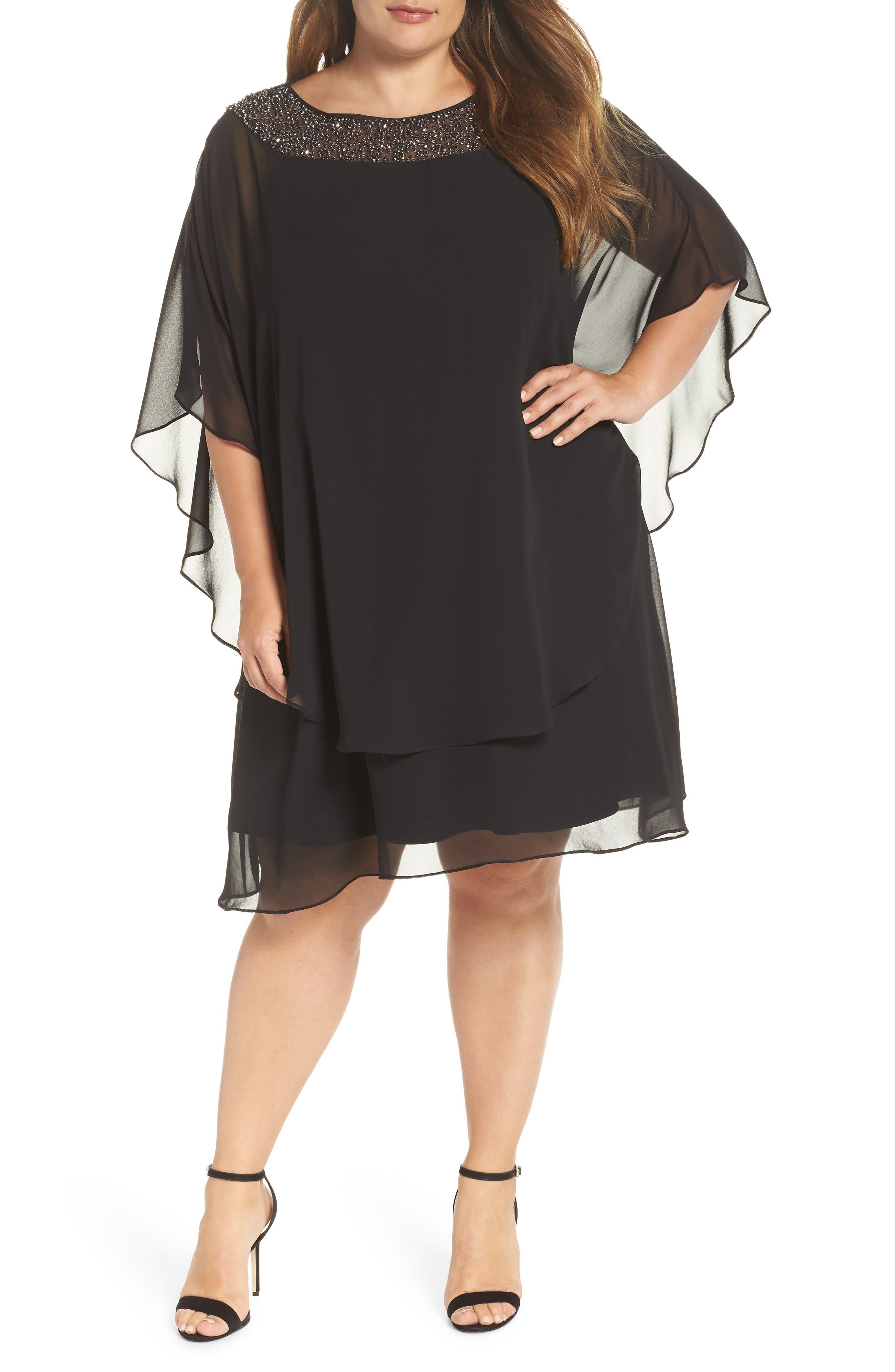 Beaded Neck Chiffon Overlay Dress,                         Main,                         color, BLACK/ GUNMETAL