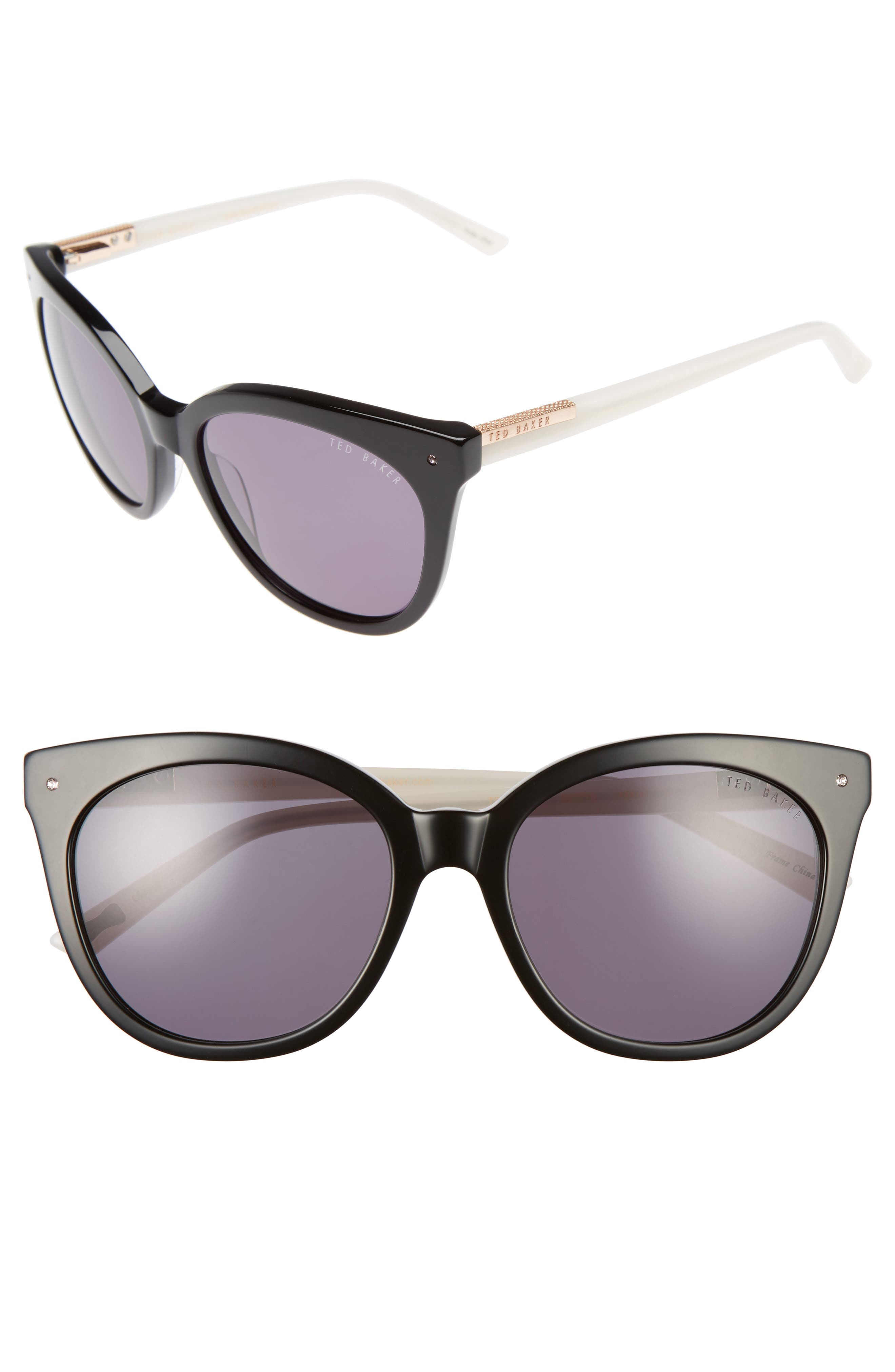 56mm Cat Eye Sunglasses,                         Main,                         color, BLACK