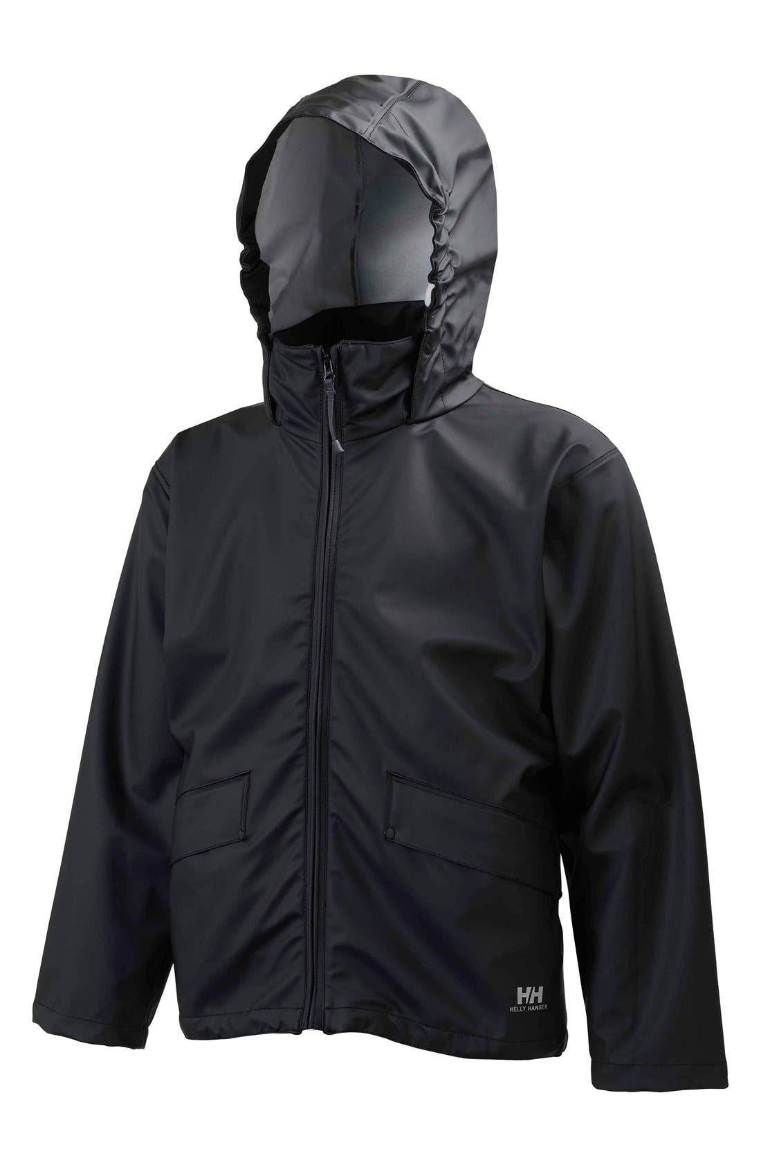 Jr. Voss Waterproof Rain Jacket,                             Main thumbnail 1, color,                             009