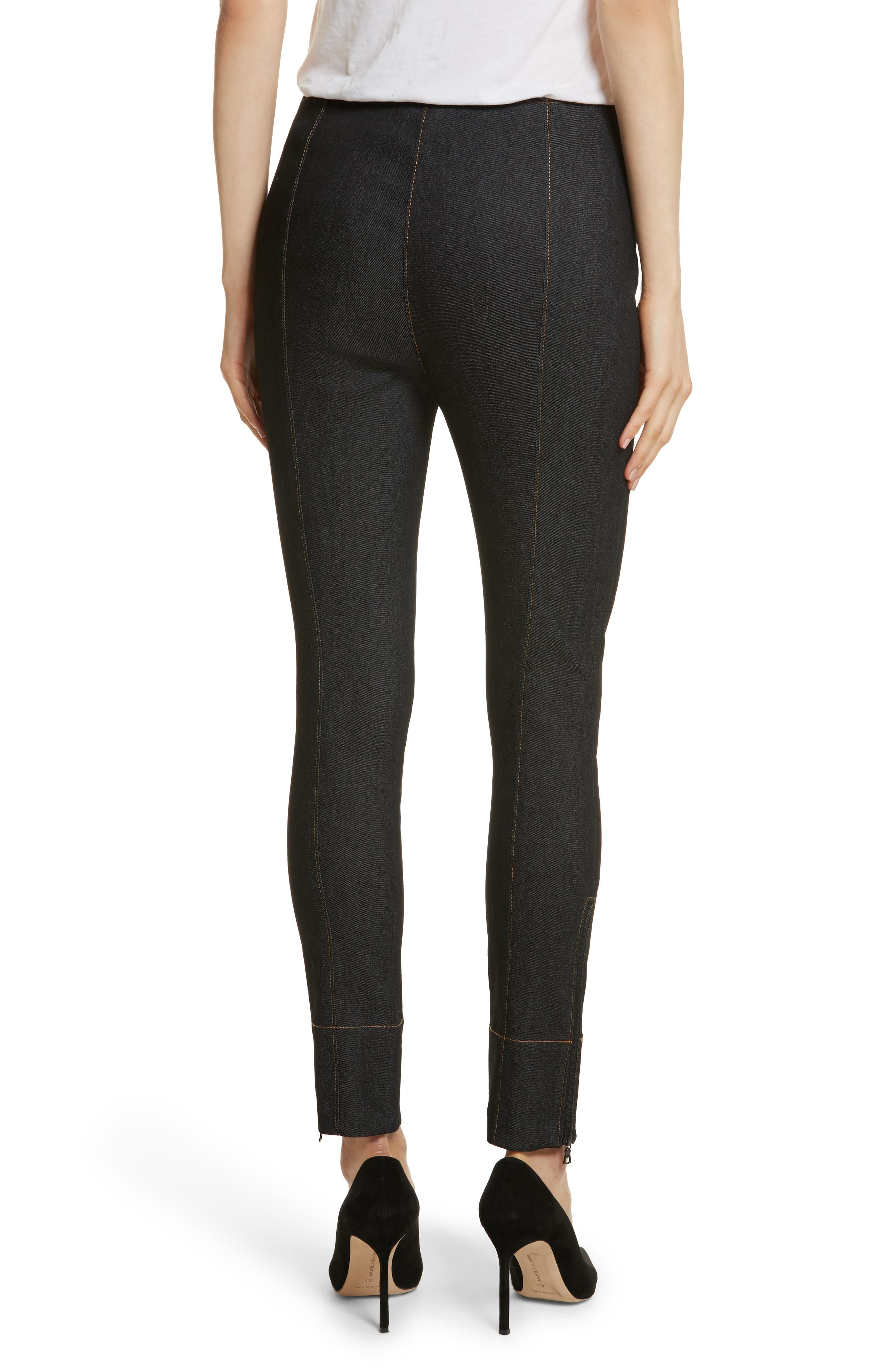 Andie Lace Front Skinny Ankle Jeans,                             Alternate thumbnail 2, color,                             001