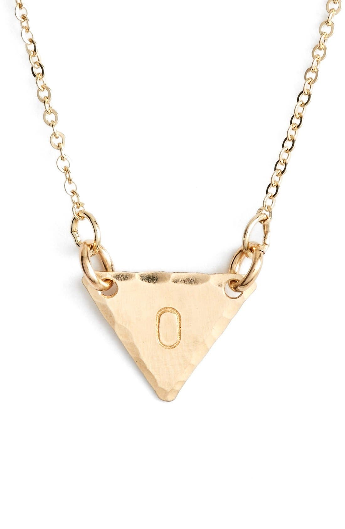 14k-Gold Fill Initial Triangle Necklace,                             Main thumbnail 15, color,