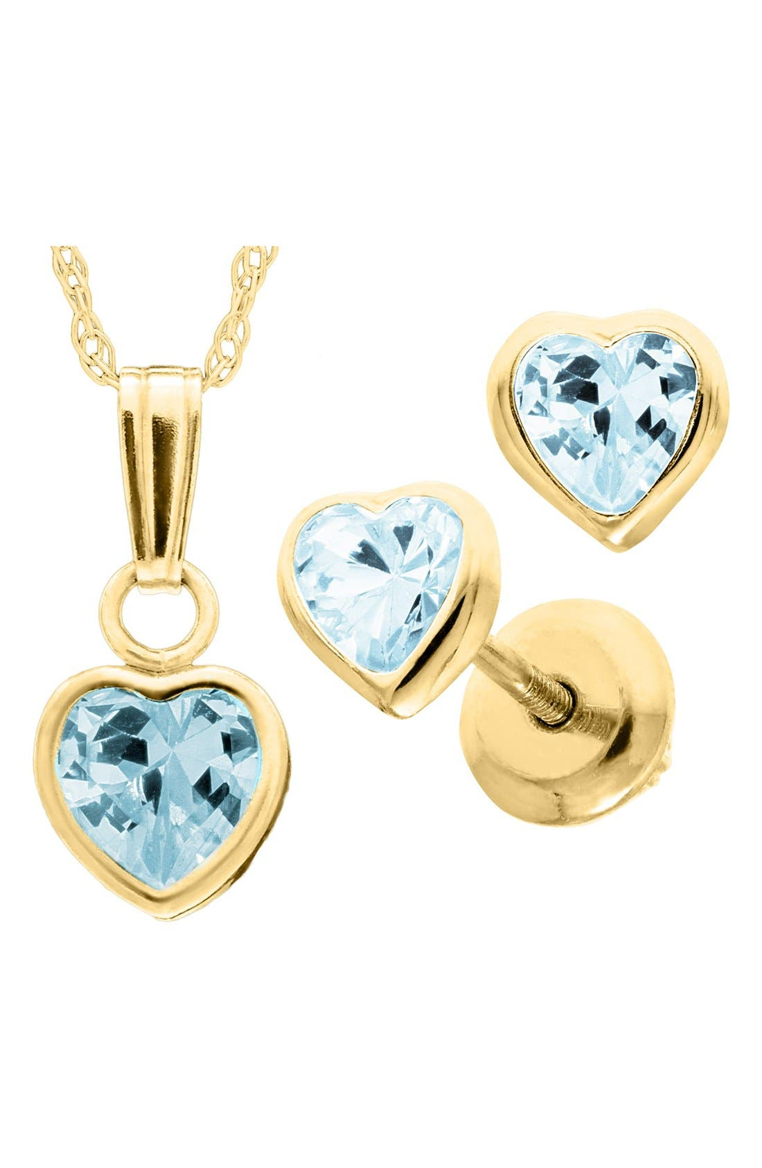 14k Gold Birthstone Necklace & Stud Earrings,                             Alternate thumbnail 3, color,                             DECEMBER