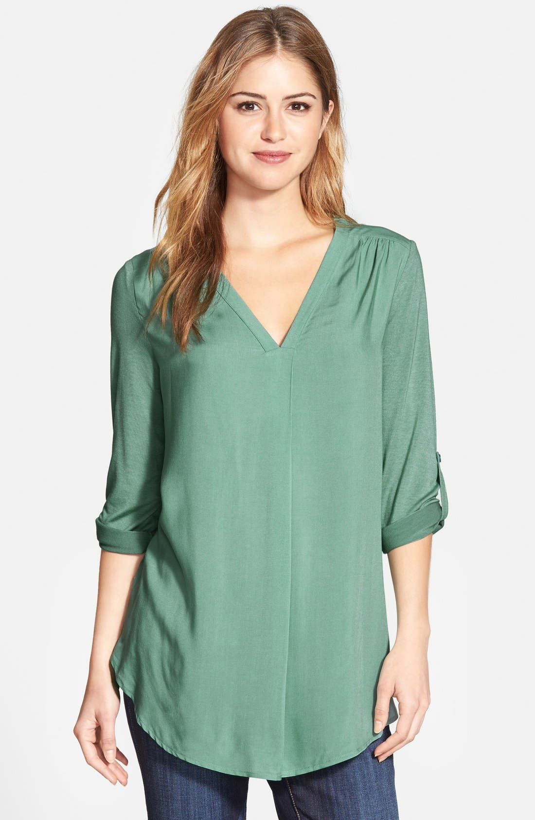 Mixed Media V-Neck Tunic,                             Main thumbnail 7, color,