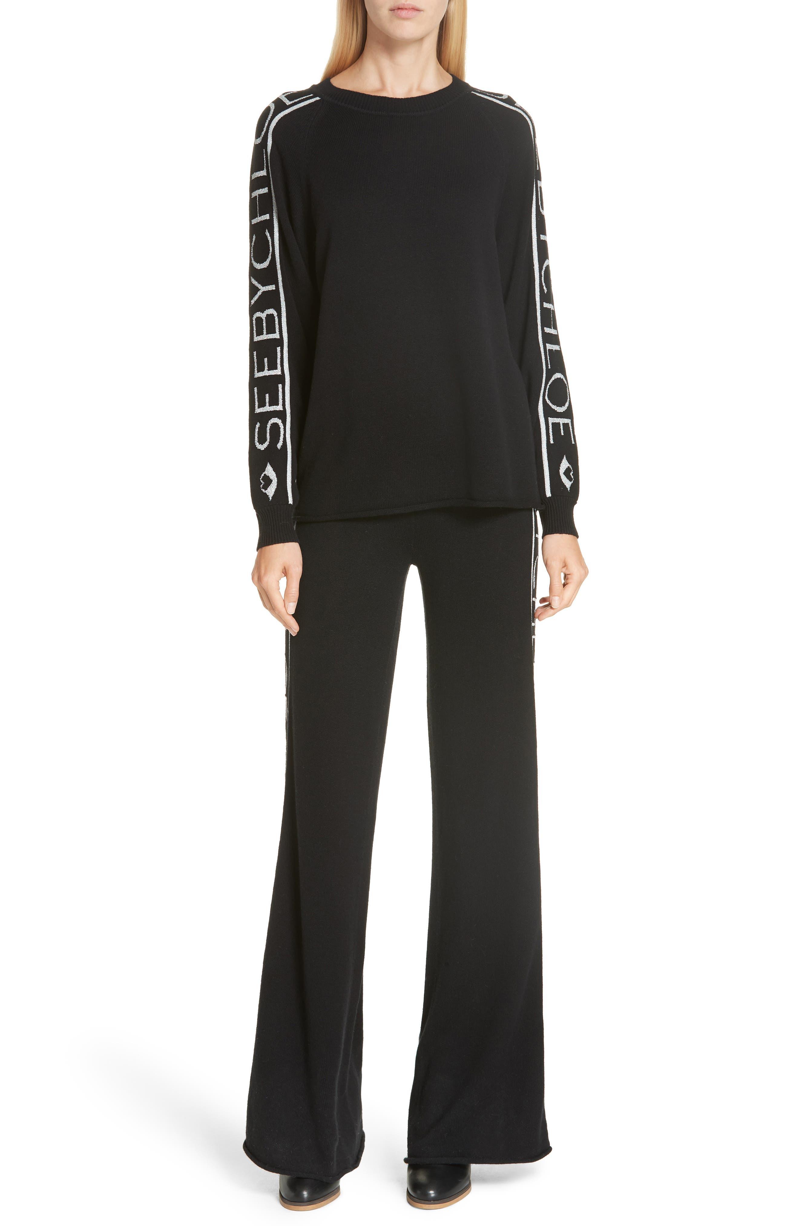 Metallic Knit Wool Blend Trousers,                             Alternate thumbnail 7, color,                             BLACK