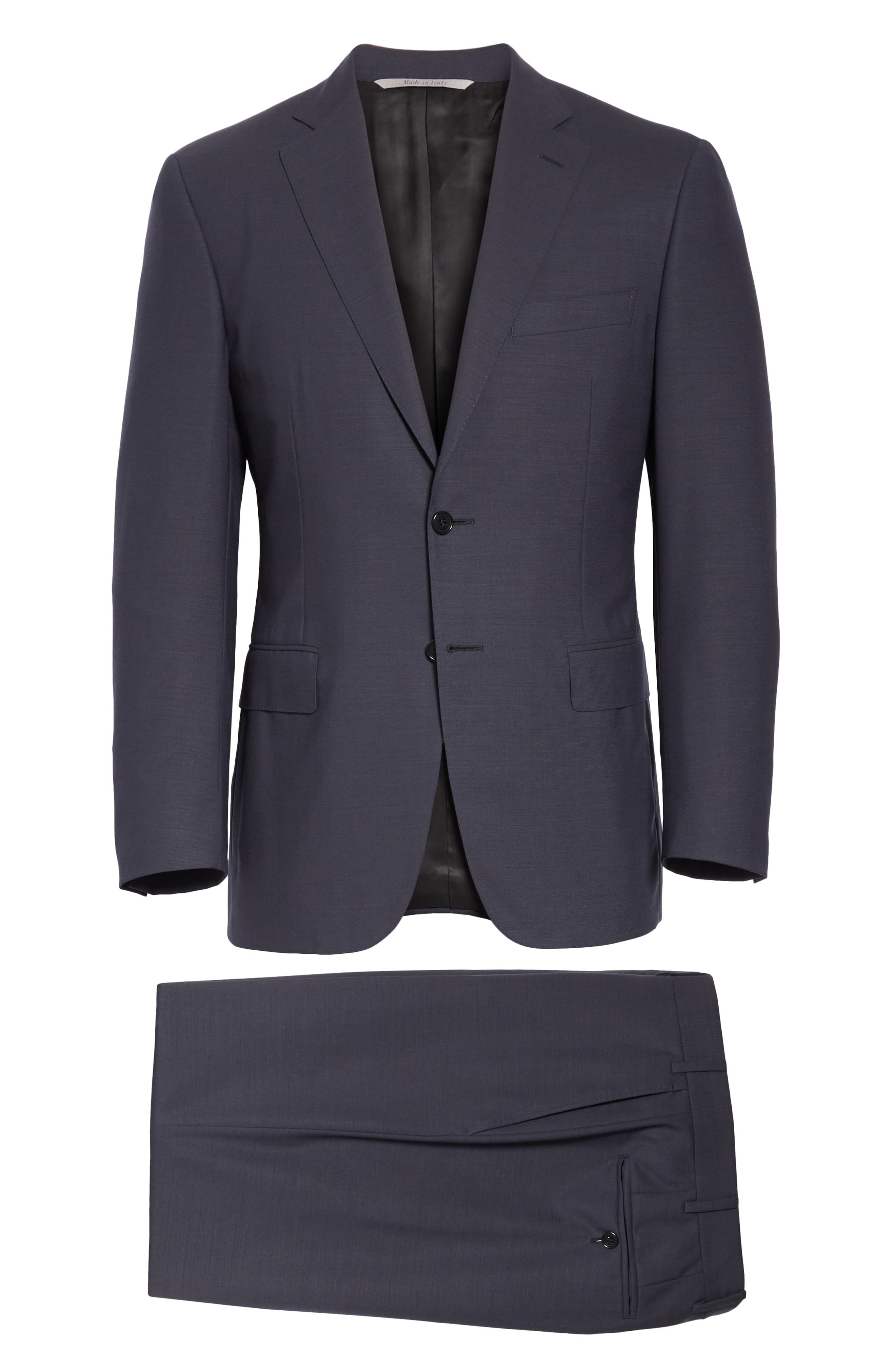 Classic Fit Solid Wool Suit,                             Alternate thumbnail 8, color,                             CHARCOAL