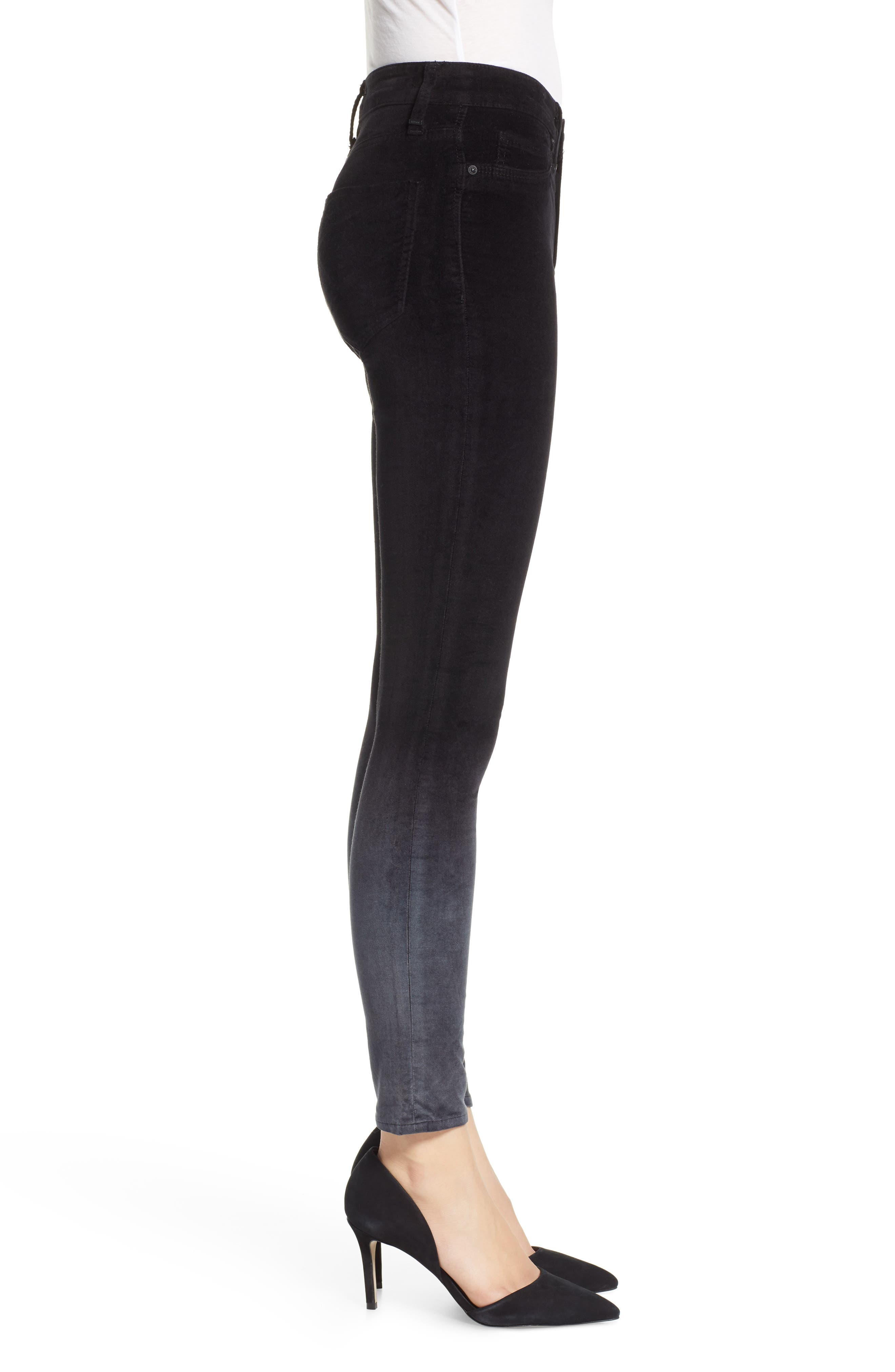 Nico Ankle Super Skinny Jeans,                             Alternate thumbnail 3, color,                             DEGRADE BLACK SLATE