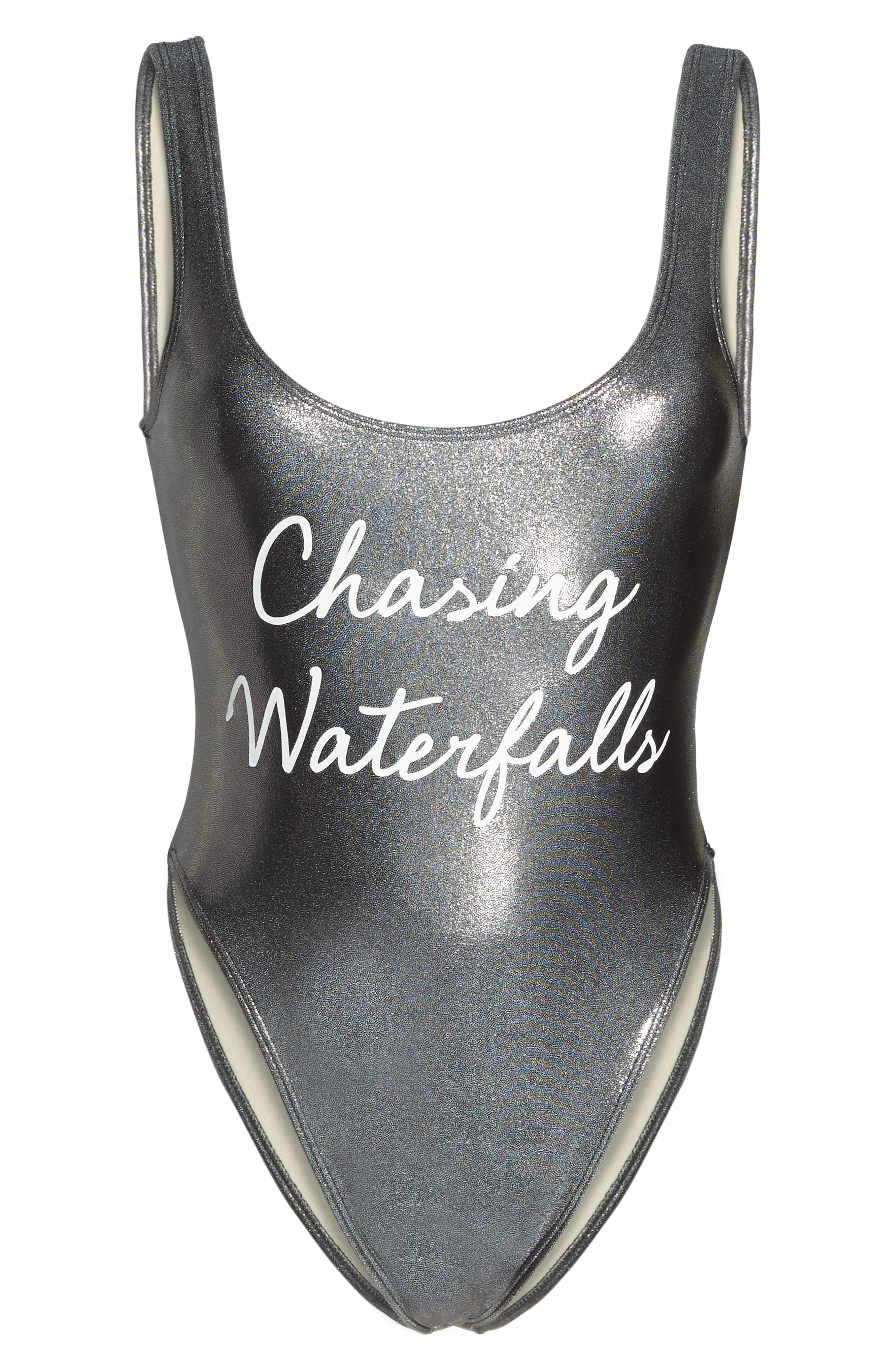 Chasing Waterfalls Metallic One-Piece Swimsuit,                             Alternate thumbnail 6, color,                             040