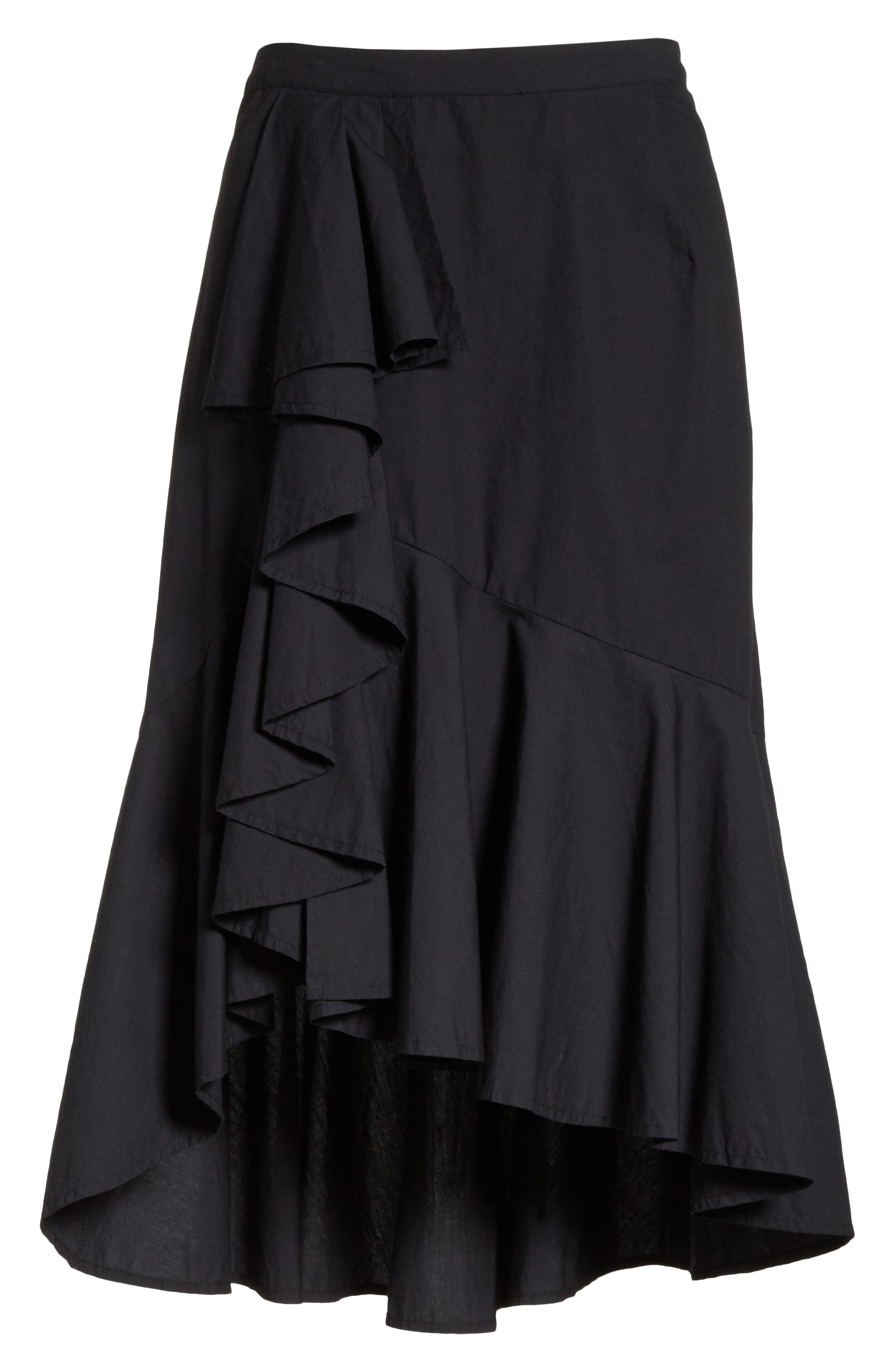Chesmu Ruffled Cotton Skirt,                             Alternate thumbnail 6, color,                             001