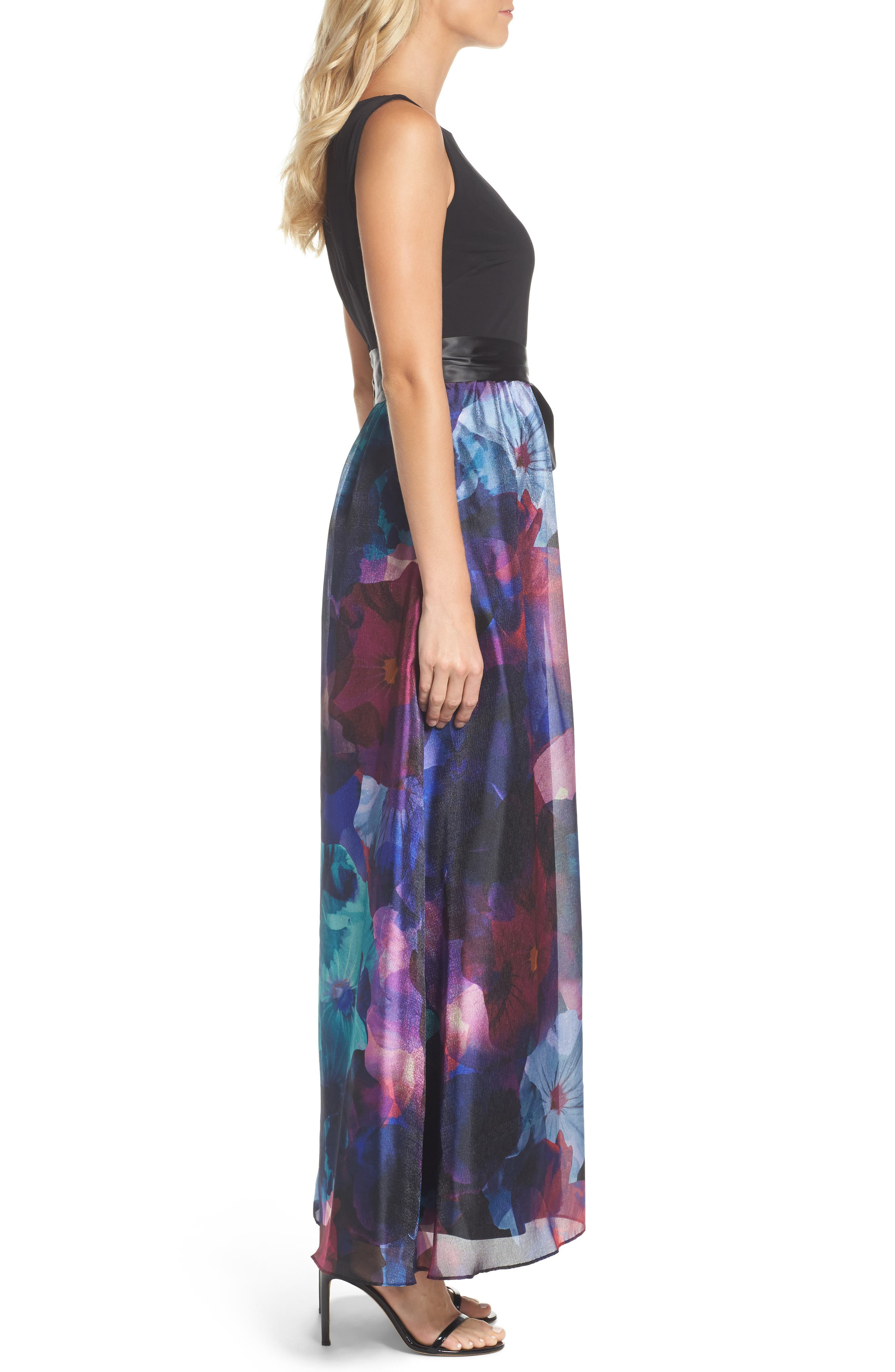 Floral Splash Mixed Media Maxi Dress,                             Alternate thumbnail 3, color,                             002