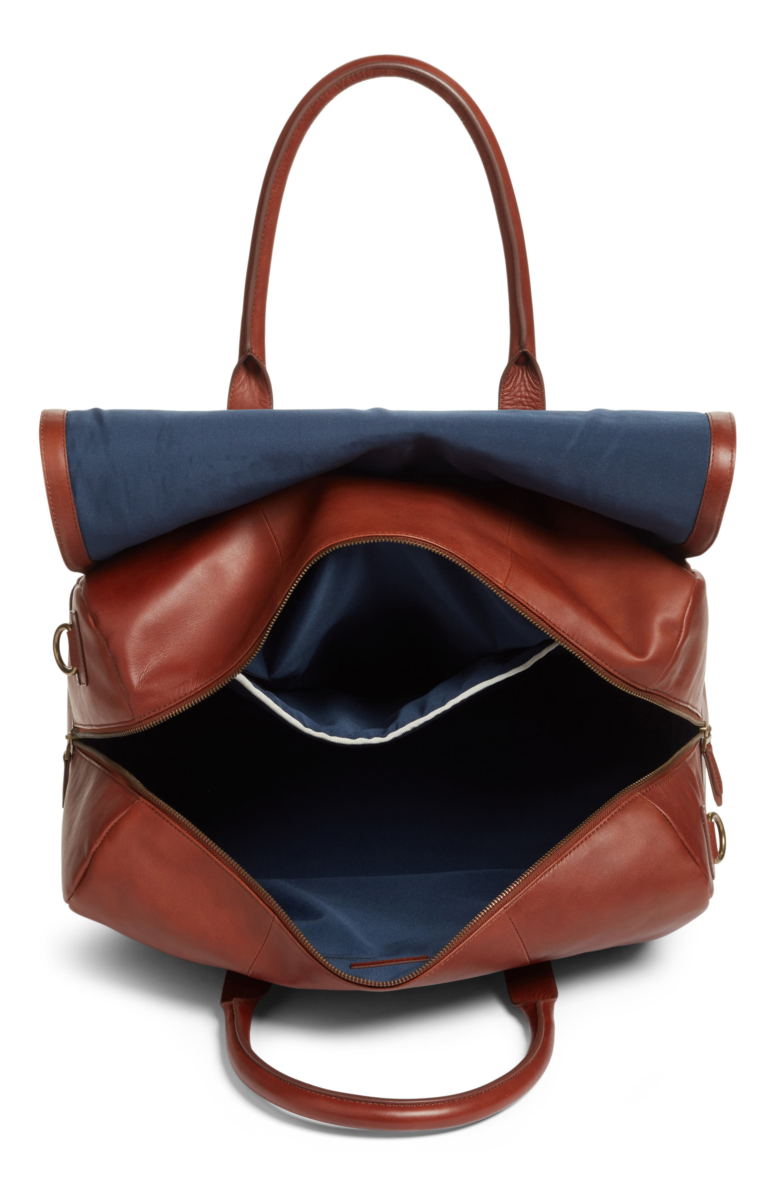 Leather Duffel Bag,                             Alternate thumbnail 8, color,