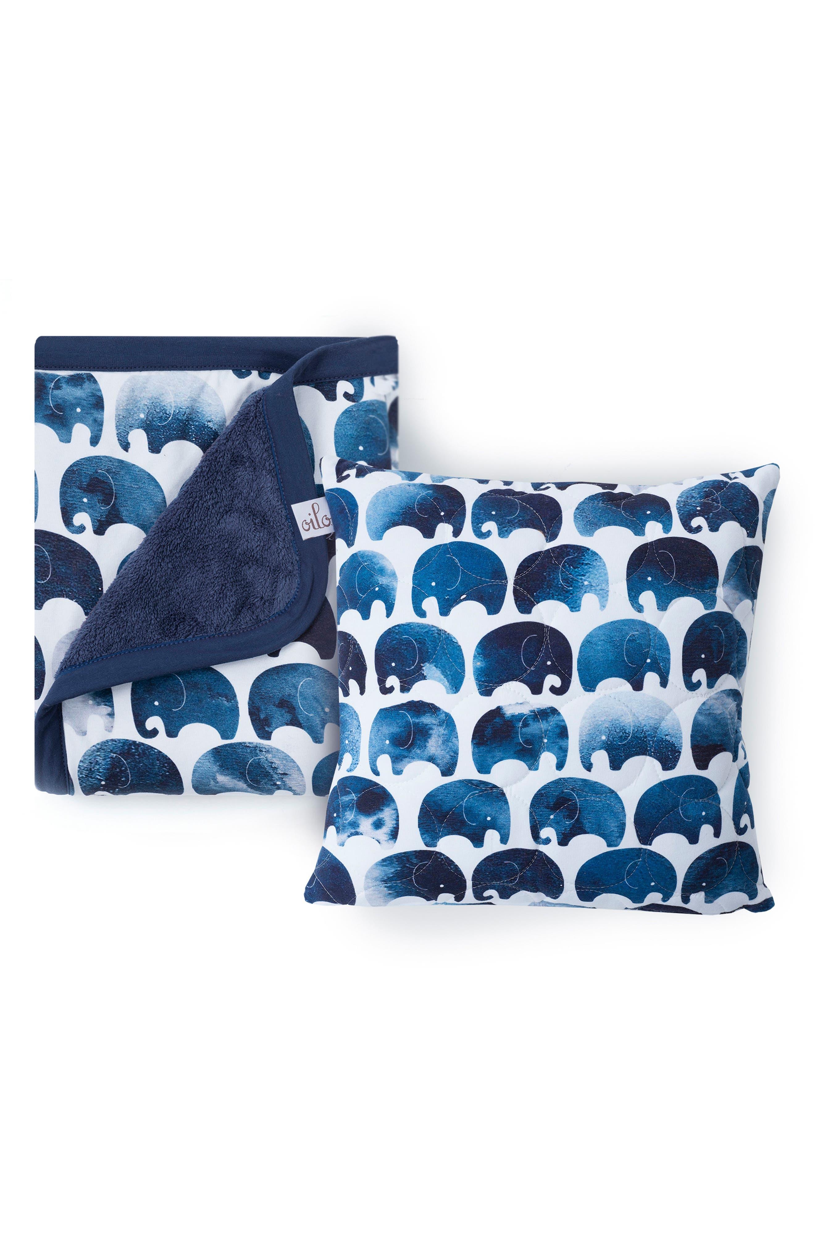OILO Elefant Blanket & Pillow Set, Main, color, 400