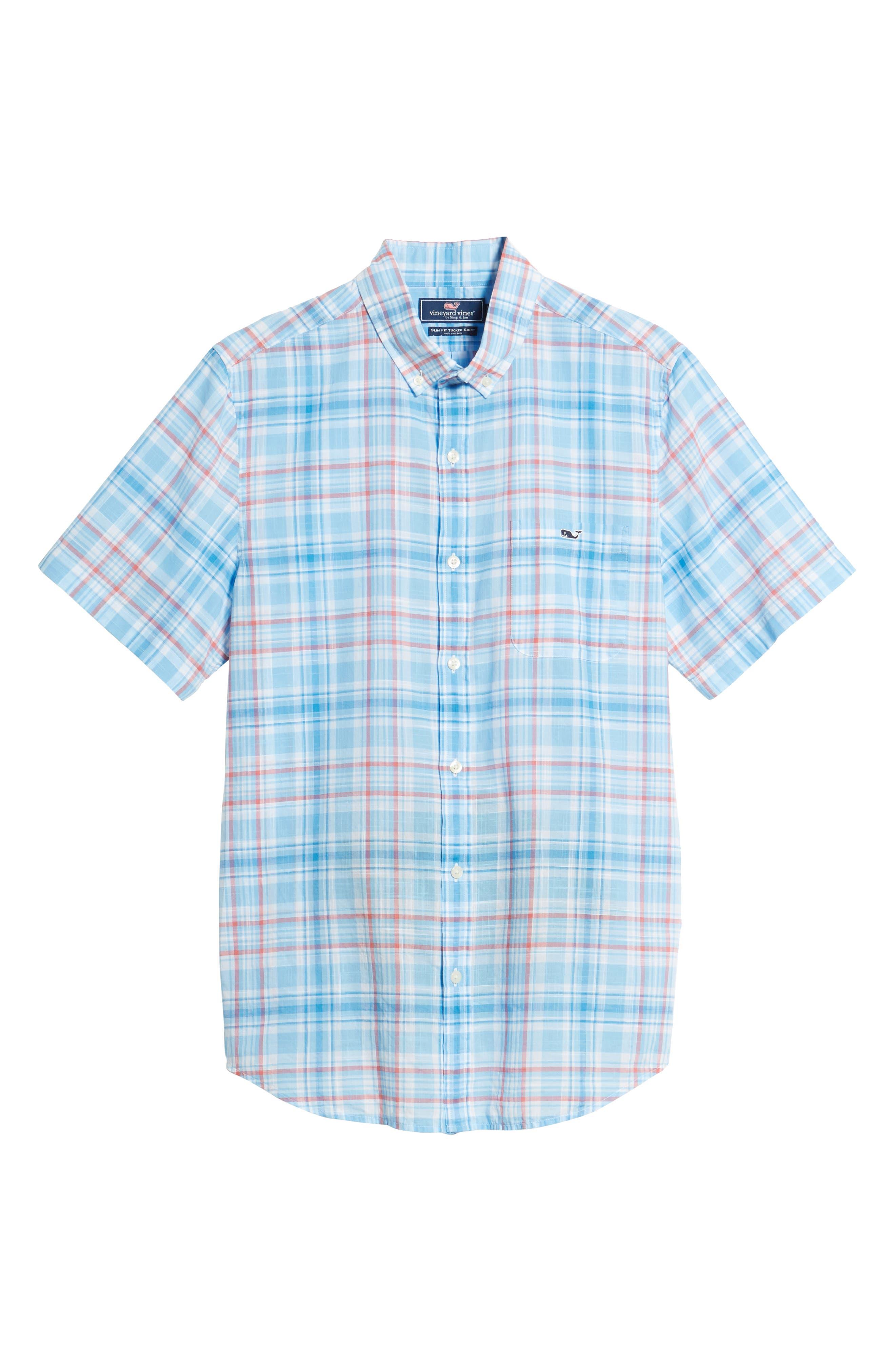 Fire Road Tucker Slim Fit Plaid Sport Shirt,                             Alternate thumbnail 6, color,                             484