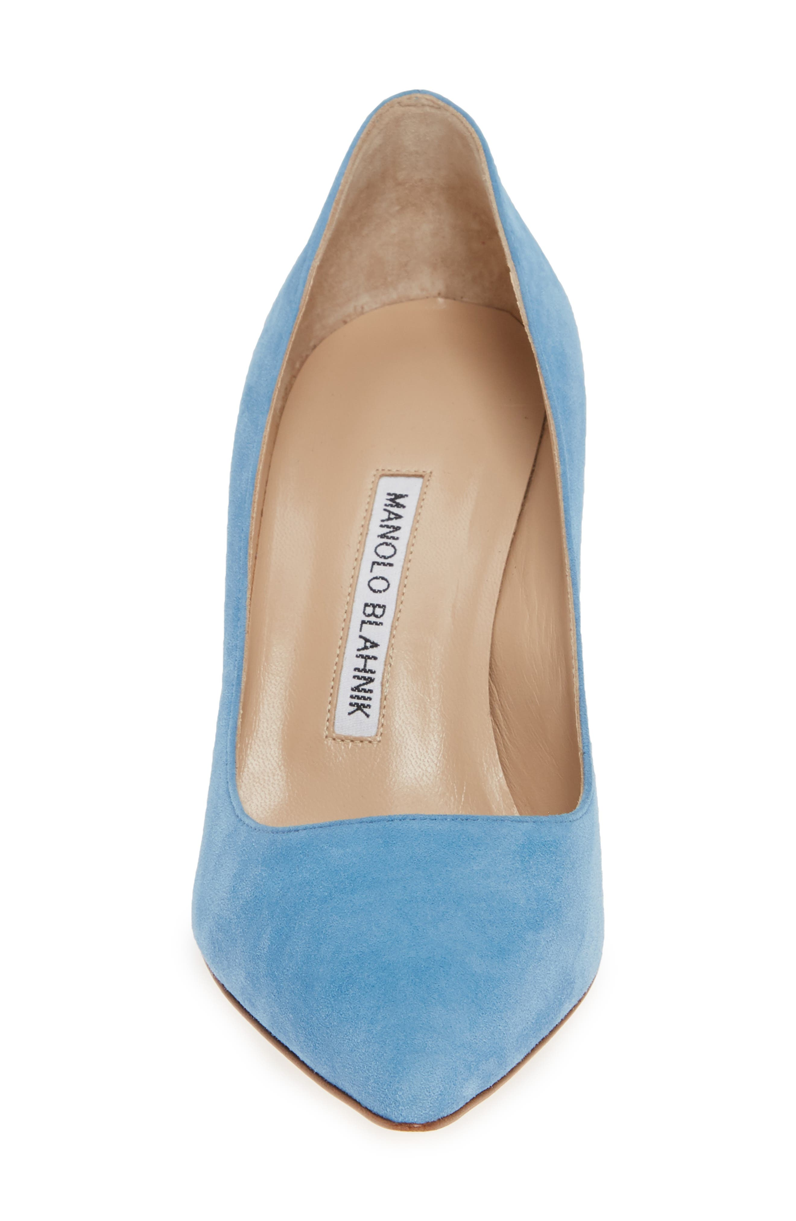 BB Pointy Toe Pump,                             Alternate thumbnail 4, color,                             POWDER BLUE SUEDE