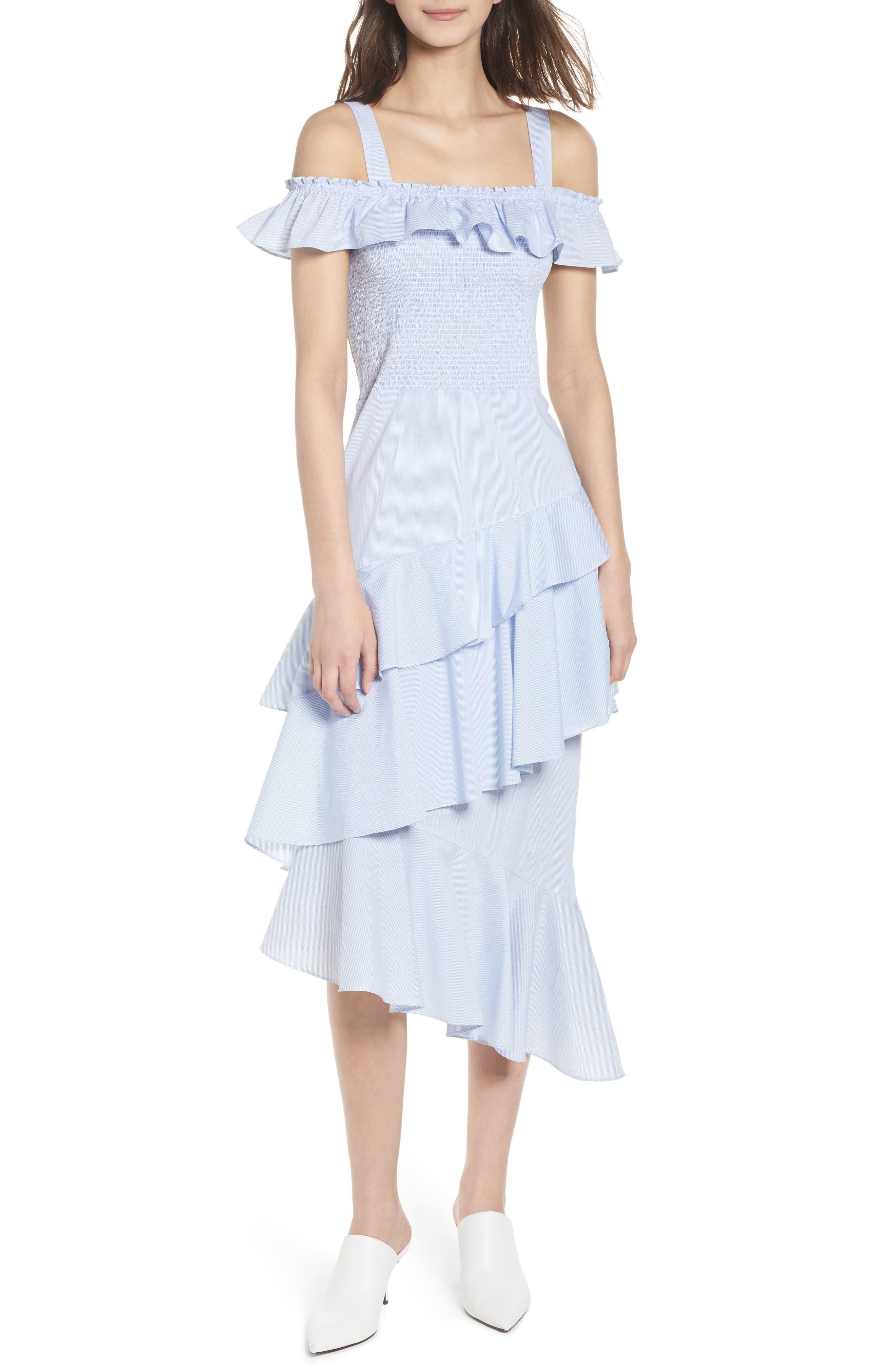 Ruffle Smocked Cold Shoulder Dress,                             Main thumbnail 1, color,