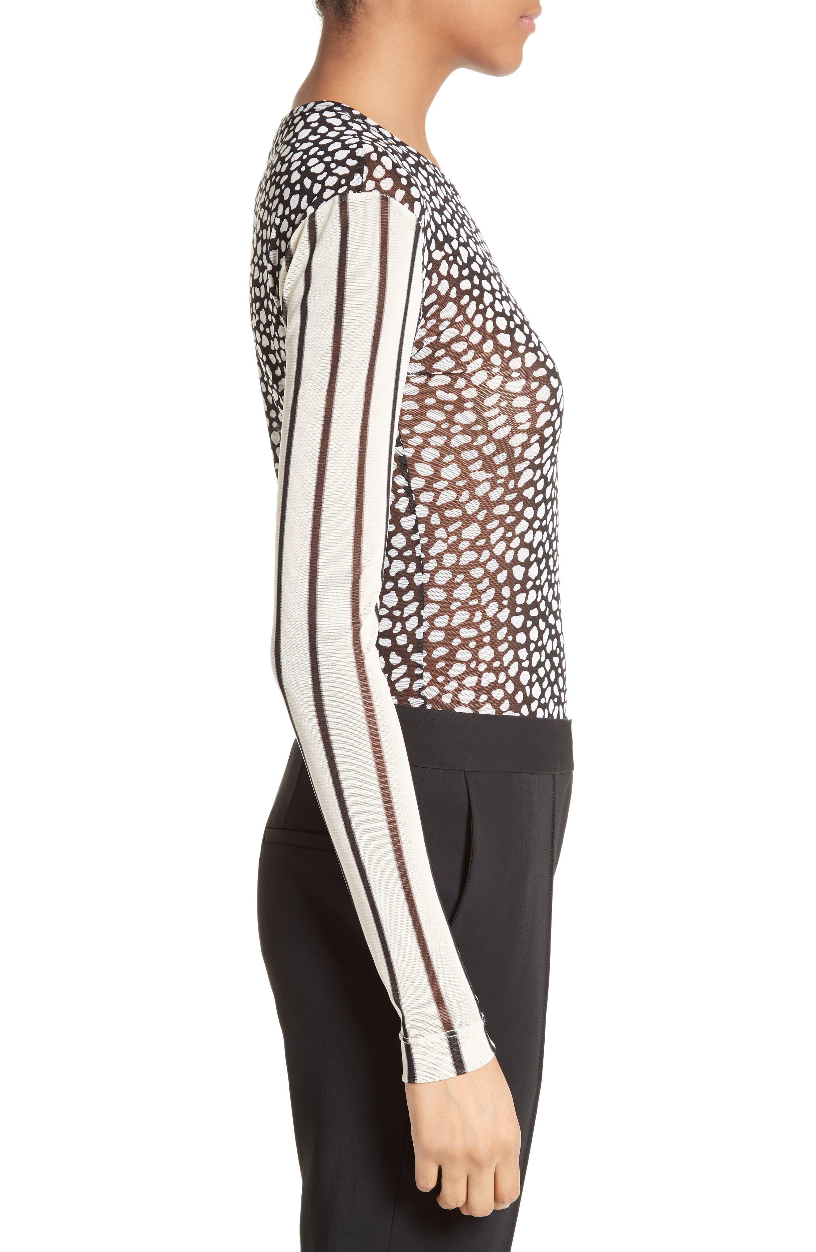 Cheetah & Stripe Mesh Tee,                             Alternate thumbnail 3, color,                             002