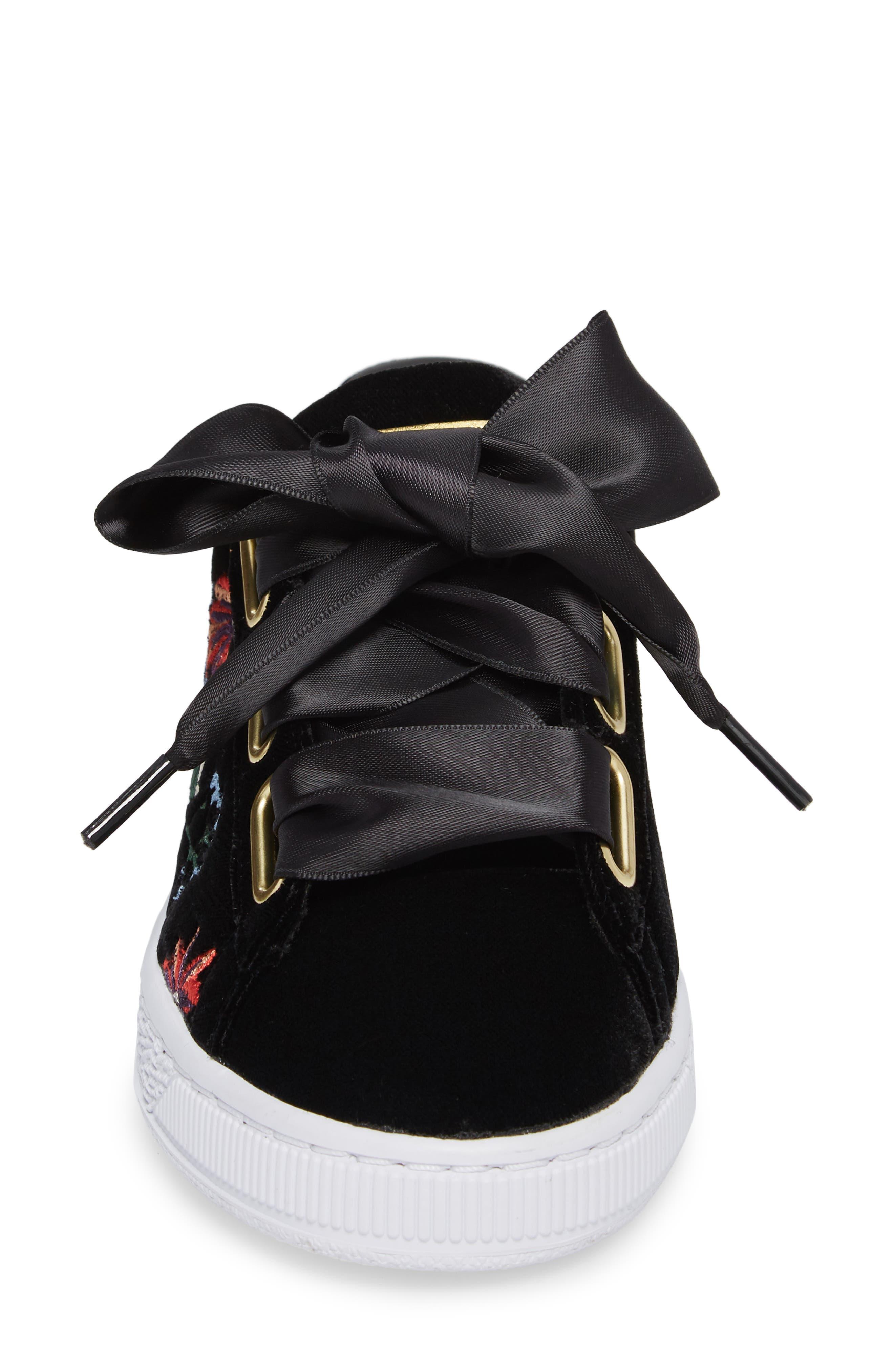 Basket Heart Hyper Embroidered Sneaker,                             Alternate thumbnail 4, color,                             001
